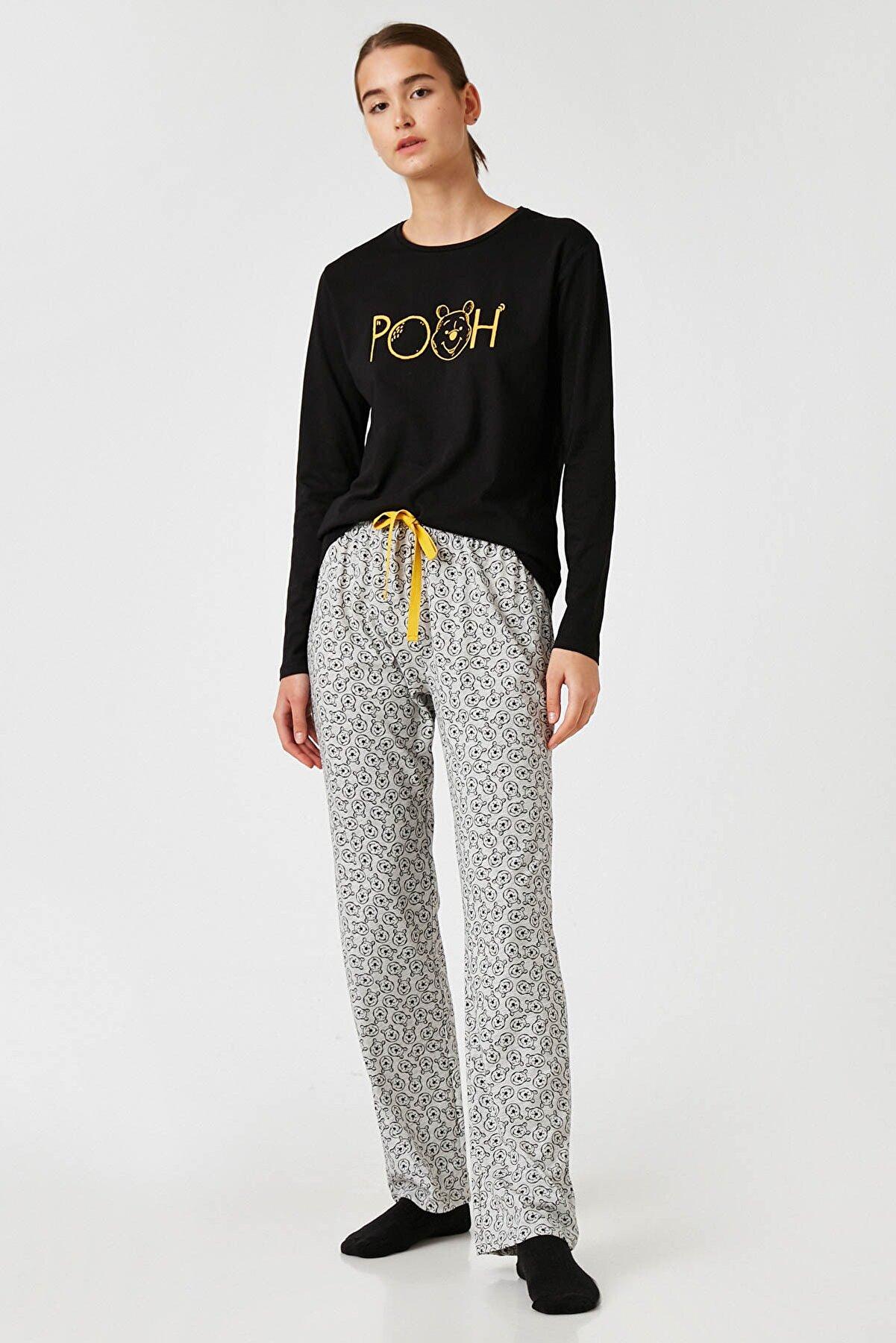 Koton Kadın Grı Melange Desenli Pijama Takımı 1KLK79340MK