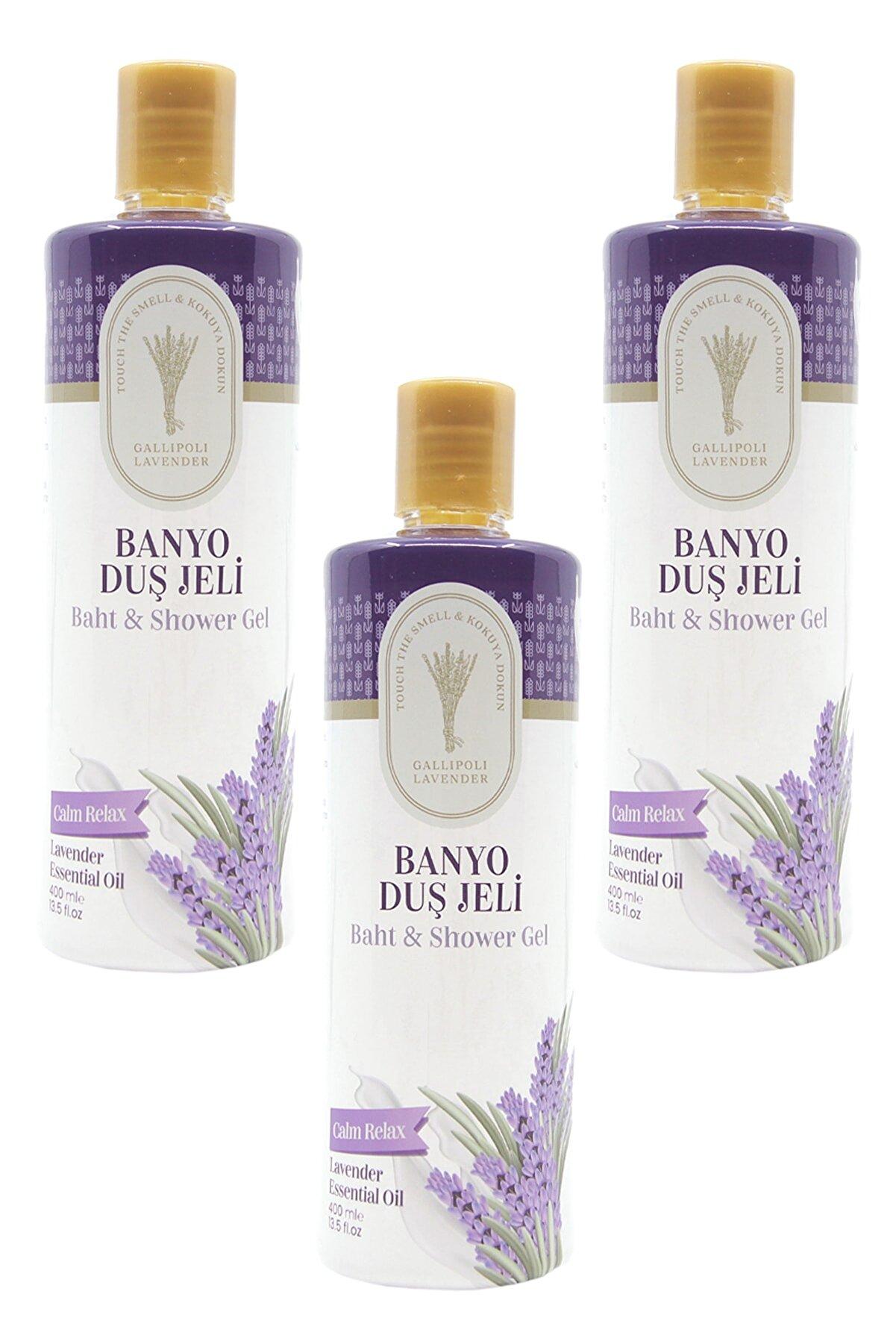 Gallipoli Lavender Lavanta Yağlı Banyo Duş Jeli 400 ml Lavanta Yatıştırıcı Duş Jeli 3 Adet