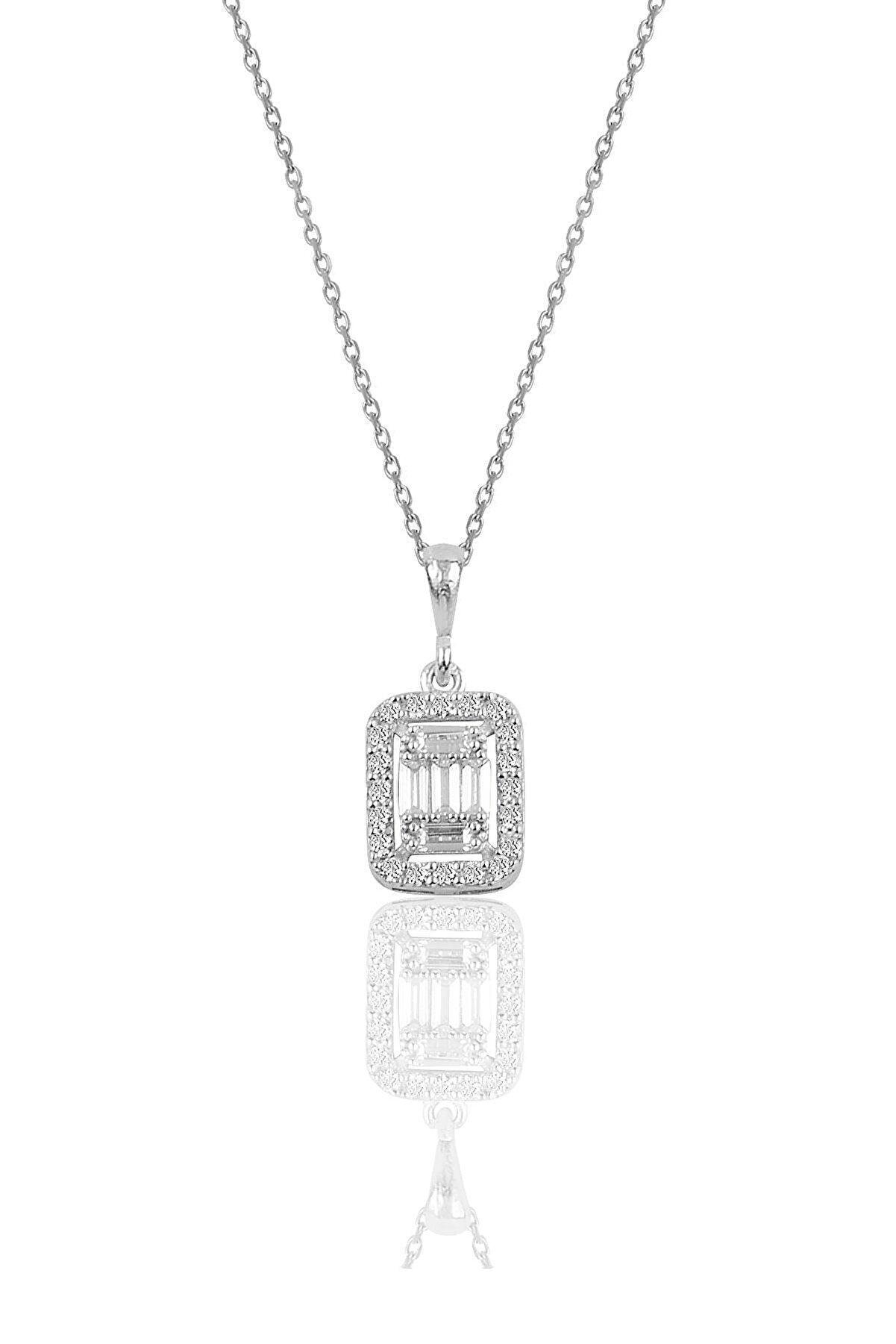 Söğütlü Silver Gümüş Rodyumlu Gümüş Baget Taşlı Kolye