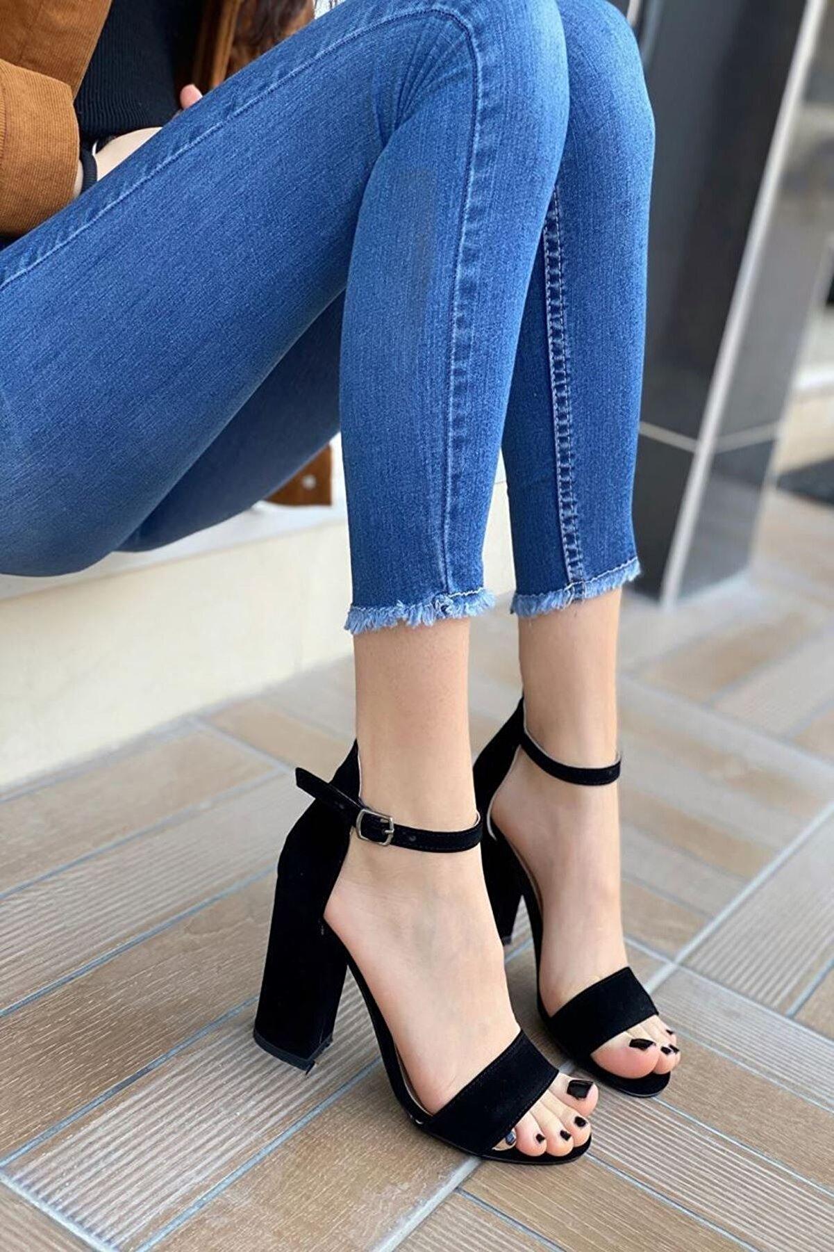 MODAADAM Kadın Perion Süet Siyah Topuklu Ayakkabı