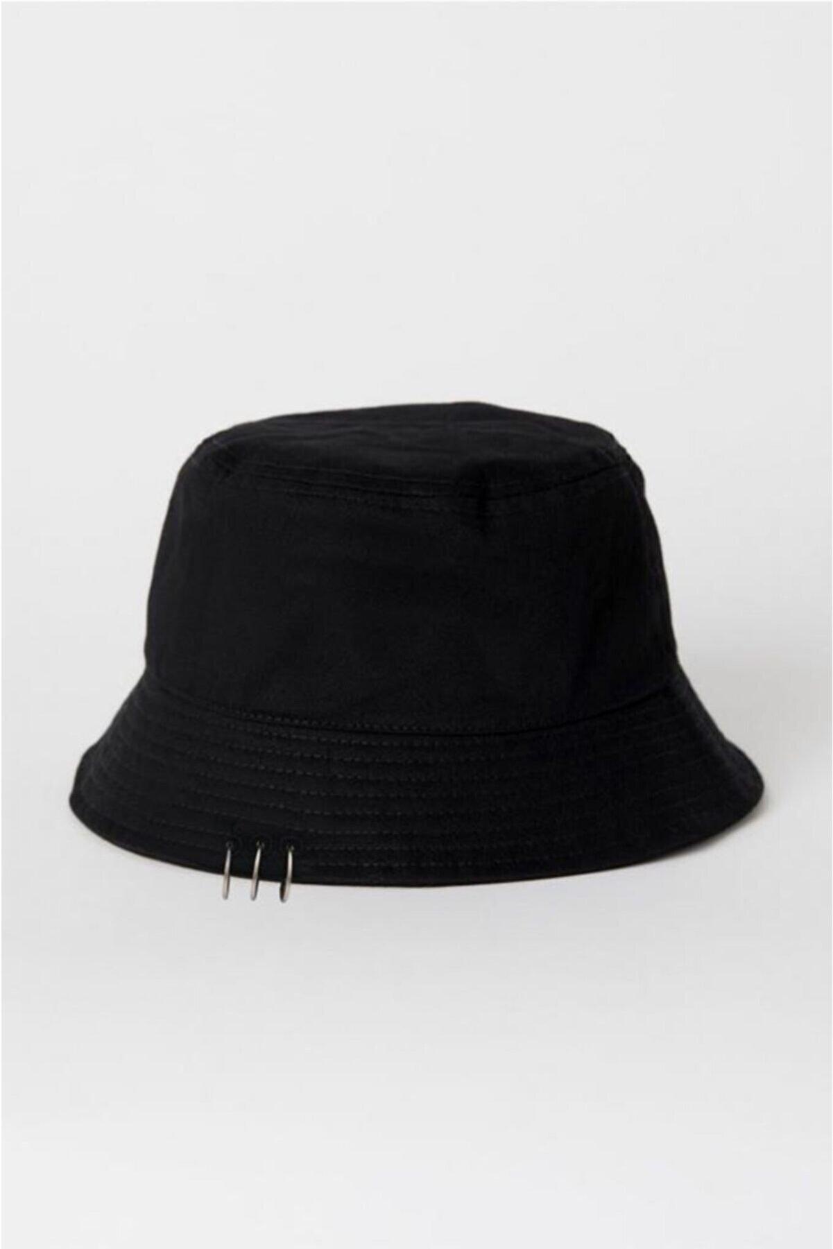 Ef Butik Siyah Piercing Detay Balıkçı Şapka Bucket Hat