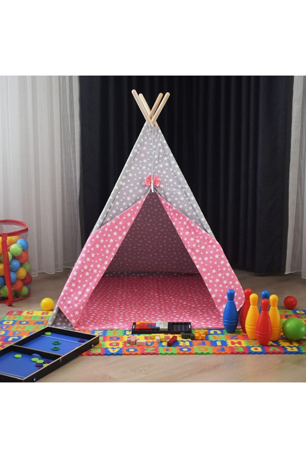 miniks Pamuklu Ahşap Çocuk Oyun Çadırı Evi Kızılderili Çadırı