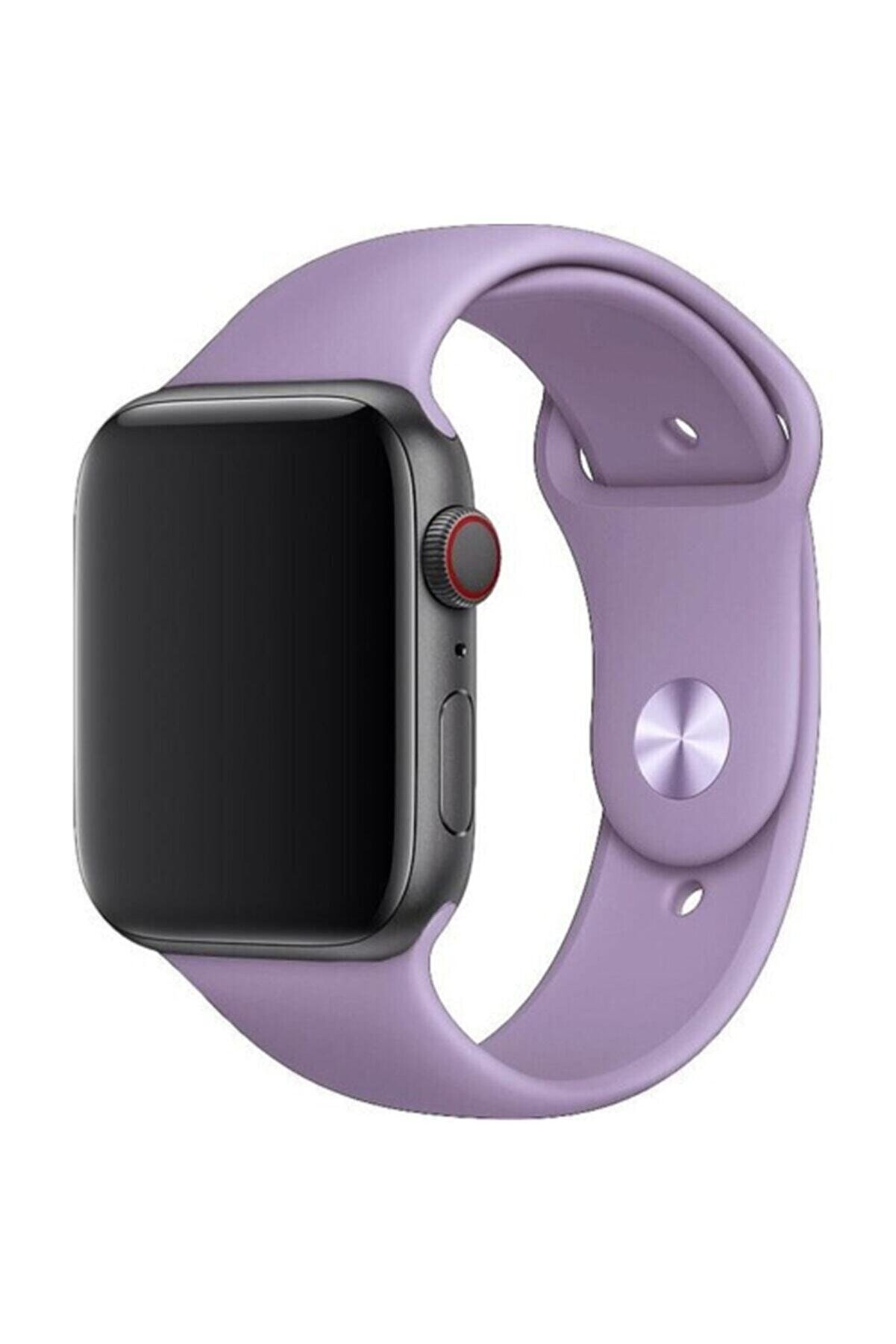 Telehome Apple Watch 38 - 40 Mm Spor Kordon Silikon Kayış Lila