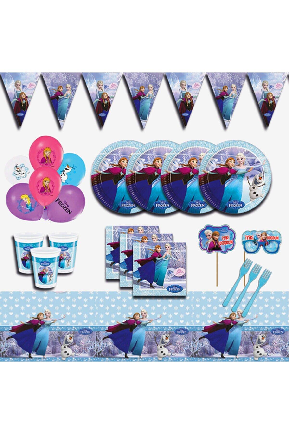 Frozen Karlar Ülkesi Elsa 8 Kişilik Mavi Doğum Günü Parti Malzemeleri Seti