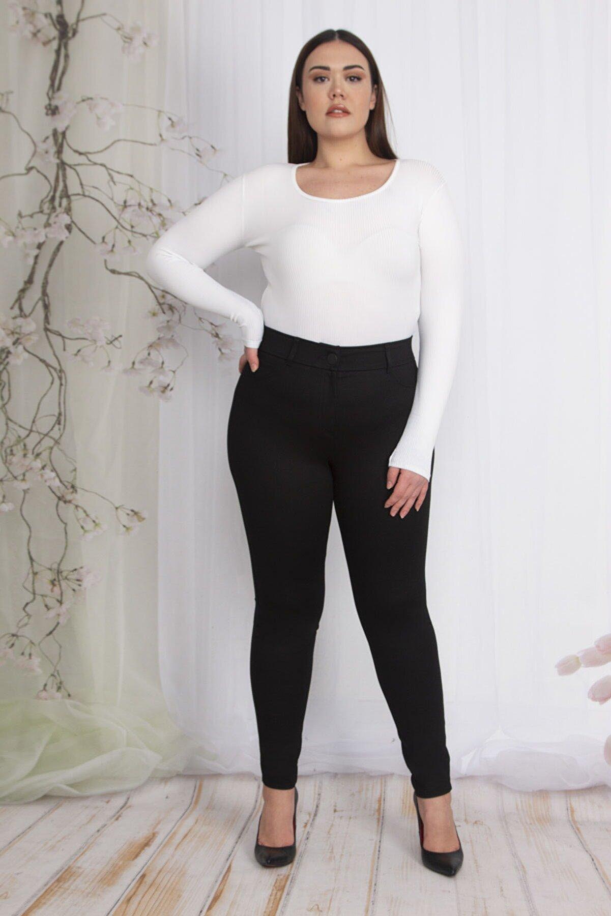 Şans Kadın Siyah Süs Cepli Tayt Pantolon 65N22347