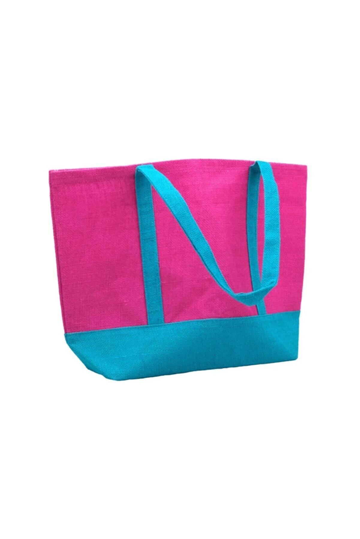 JUTBURADA Jüt Çanta Çok Amaçlı Kullanımlar Için (Plaj, Alışveriş, Günlük Kullanım)