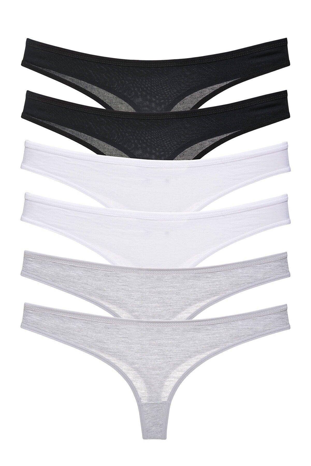 LadyMelex Kadın Siyah Beyaz Gri Klasik Tanga 6'lı Paket