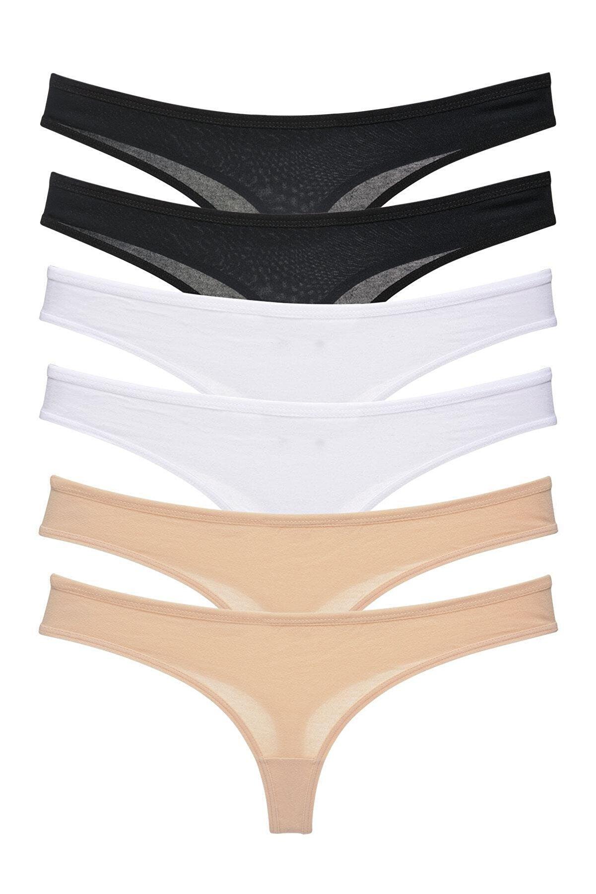 LadyMelex Kadın Siyah Beyaz Ten 6'lı Paket Tanga