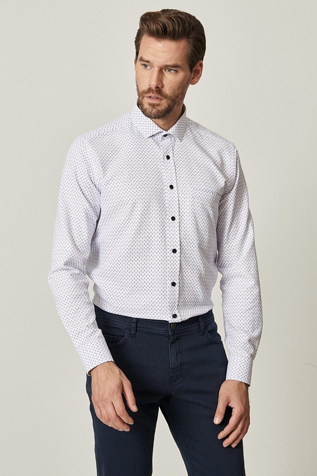 Altınyıldız Classics Erkek Beyaz-Lacivert Tailored Slim Fit Dar Kesim Küçük İtalyan Yaka Baskılı Gömlek