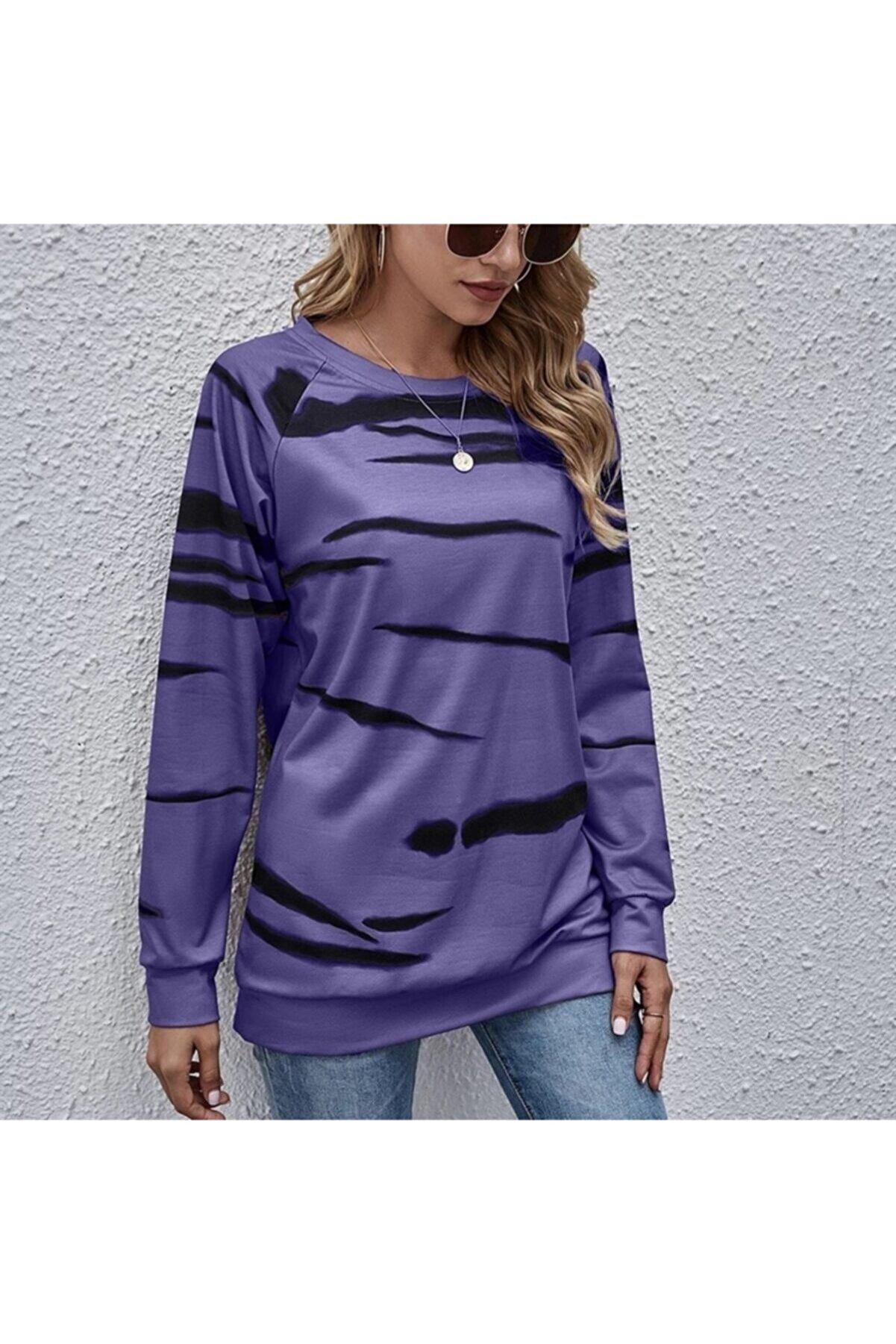 JANES Kadın Mor Dijital Baskılı Dalgıç Kumaş Bluz