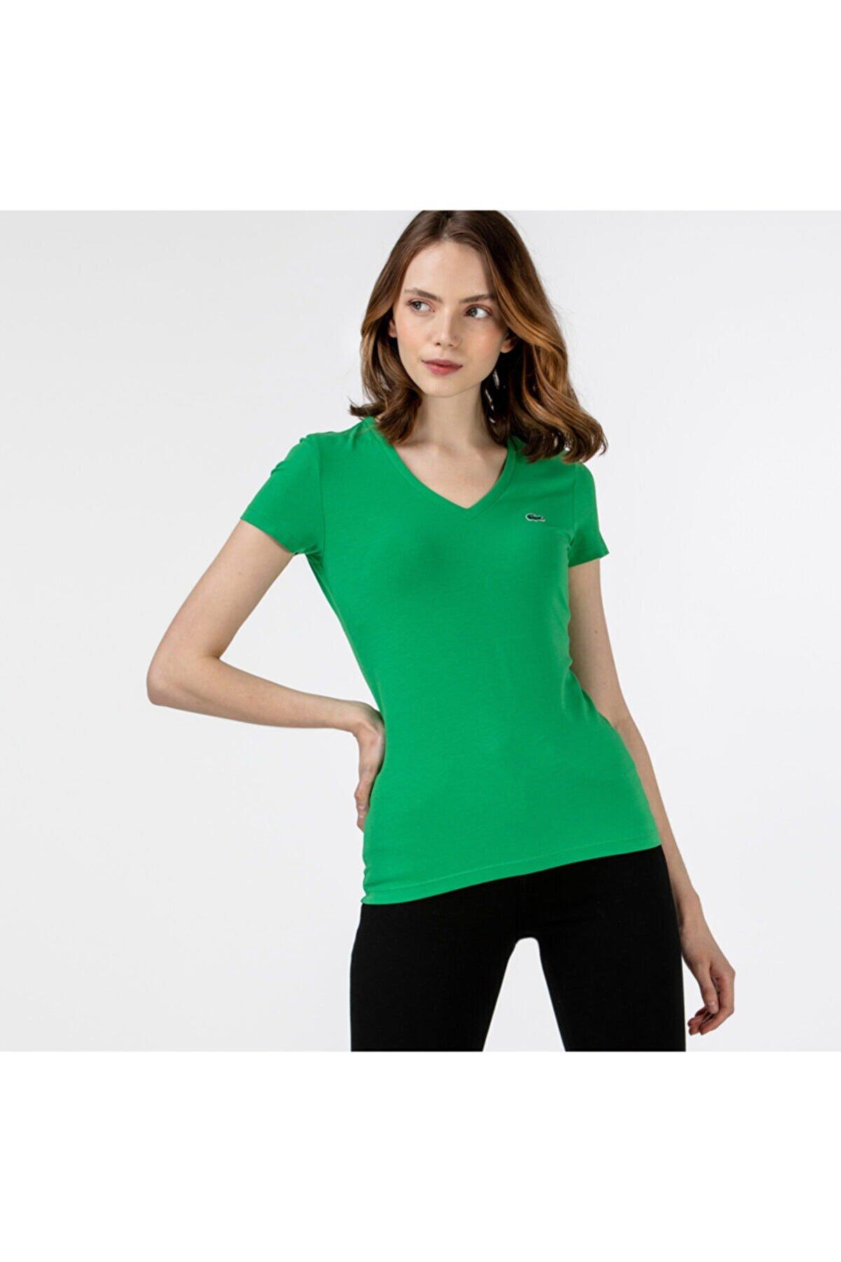 Lacoste Kadın Slim Fit V Yaka Yeşil T-Shirt TF0999