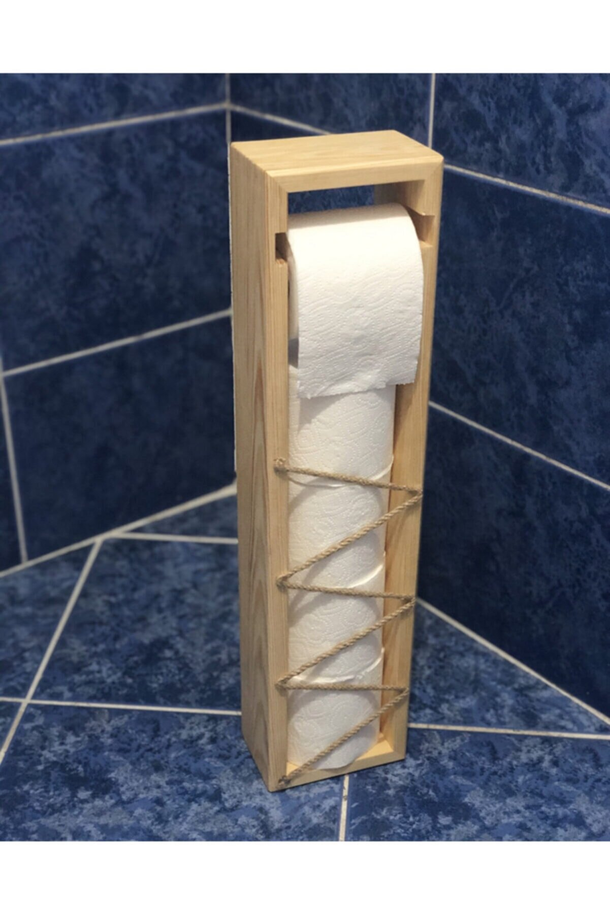 Teknik Ahşap Çam/ladin Ağacı Hazneli Tuvalet Kağıdı Standı