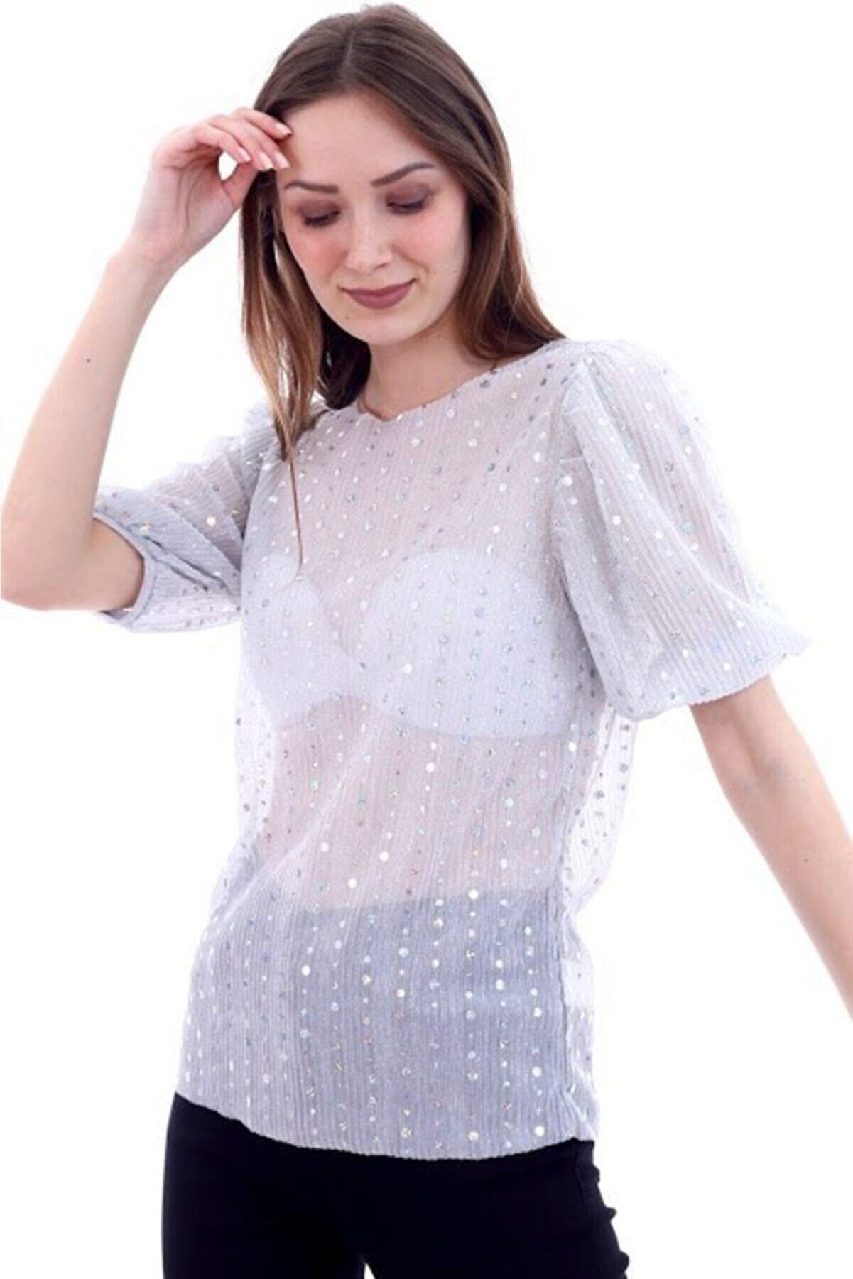 RODNEY Kadın Transparan Pullu Gri Tshirt
