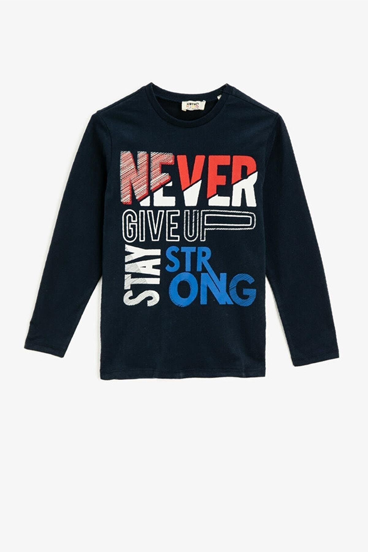 Koton Erkek Çocuk Lacivert Pamuklu Bisiklet Yaka Uzun Kollu T-shirt