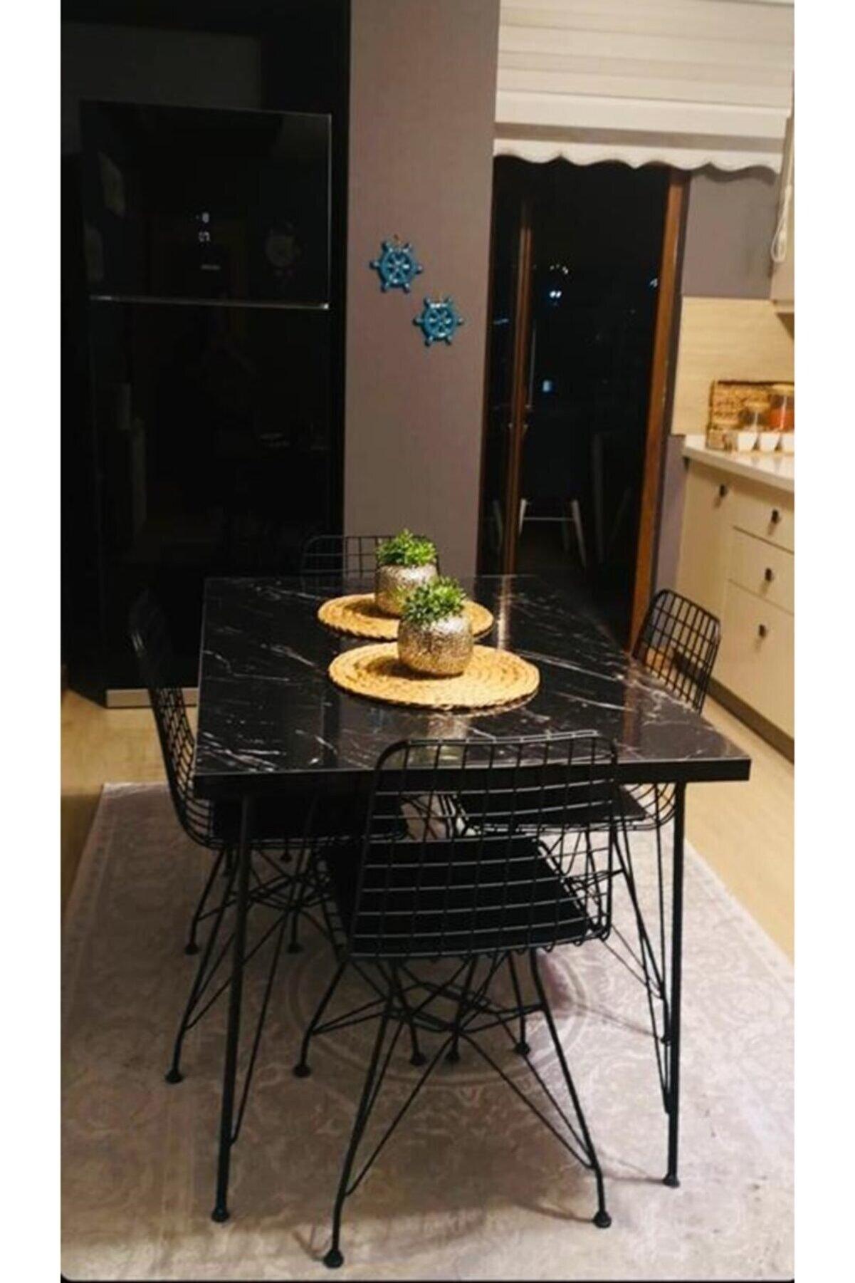 Avvio Defne 4 Kişilik 80x120 Yemek Masası Takımı-mutfak Masası Takımı-siyah Mermer Desenli