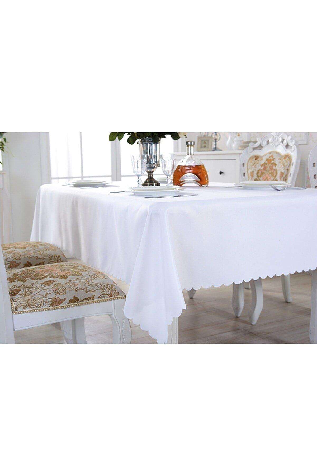 ladantela Düz Masa Örtüsü 160x220 Cm Beyaz