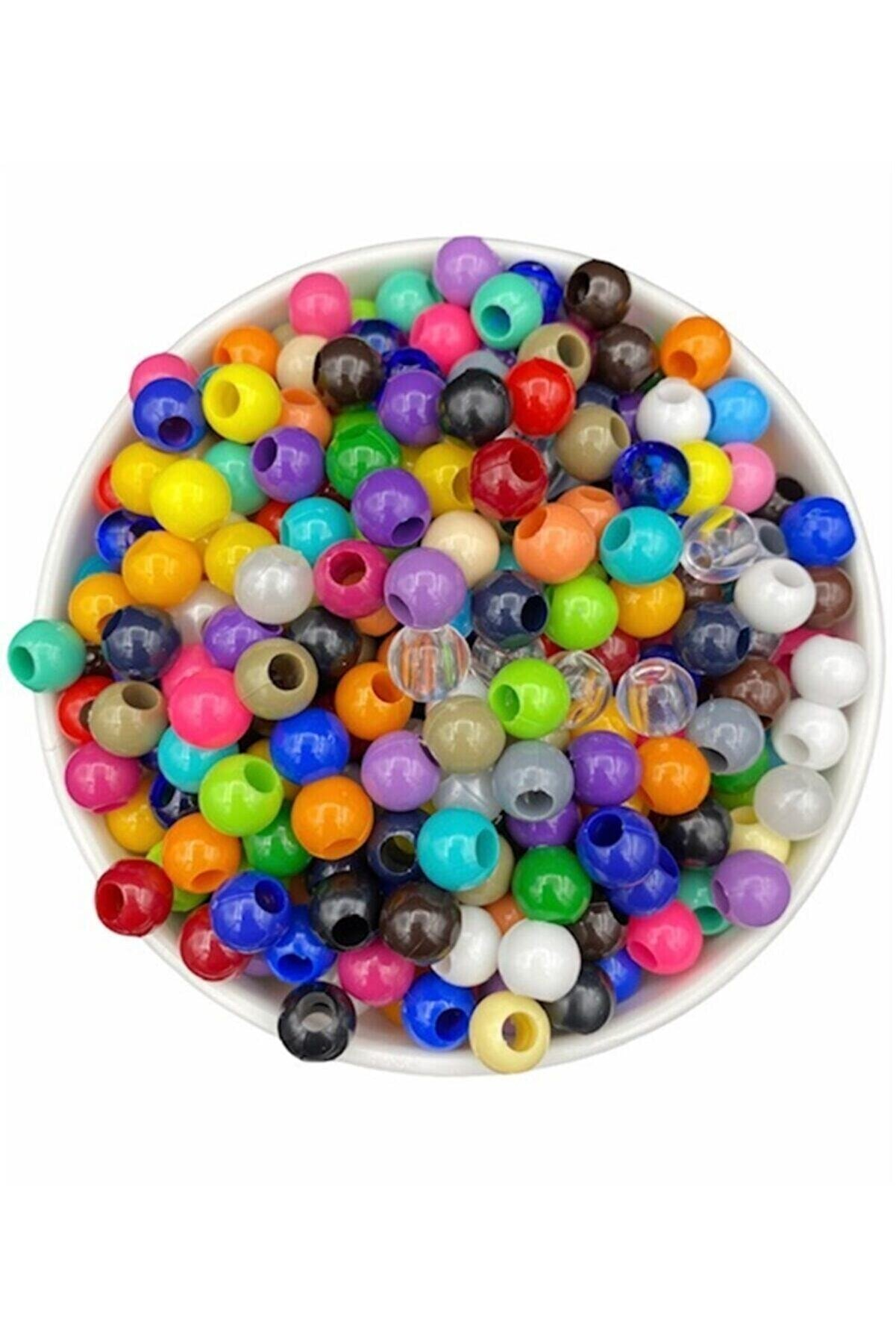 Hedef Bijuteri 10mm Karışık Renkli Plastik Boncuk,renkli Geniş Delik Makrome Boncuğu (100gr,~200 Adet Boncuk)