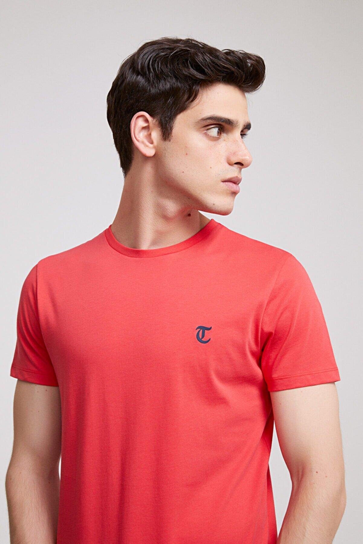 TWN Erkek Nar Çiçeği Düz Twn Slim Fit T-shirt