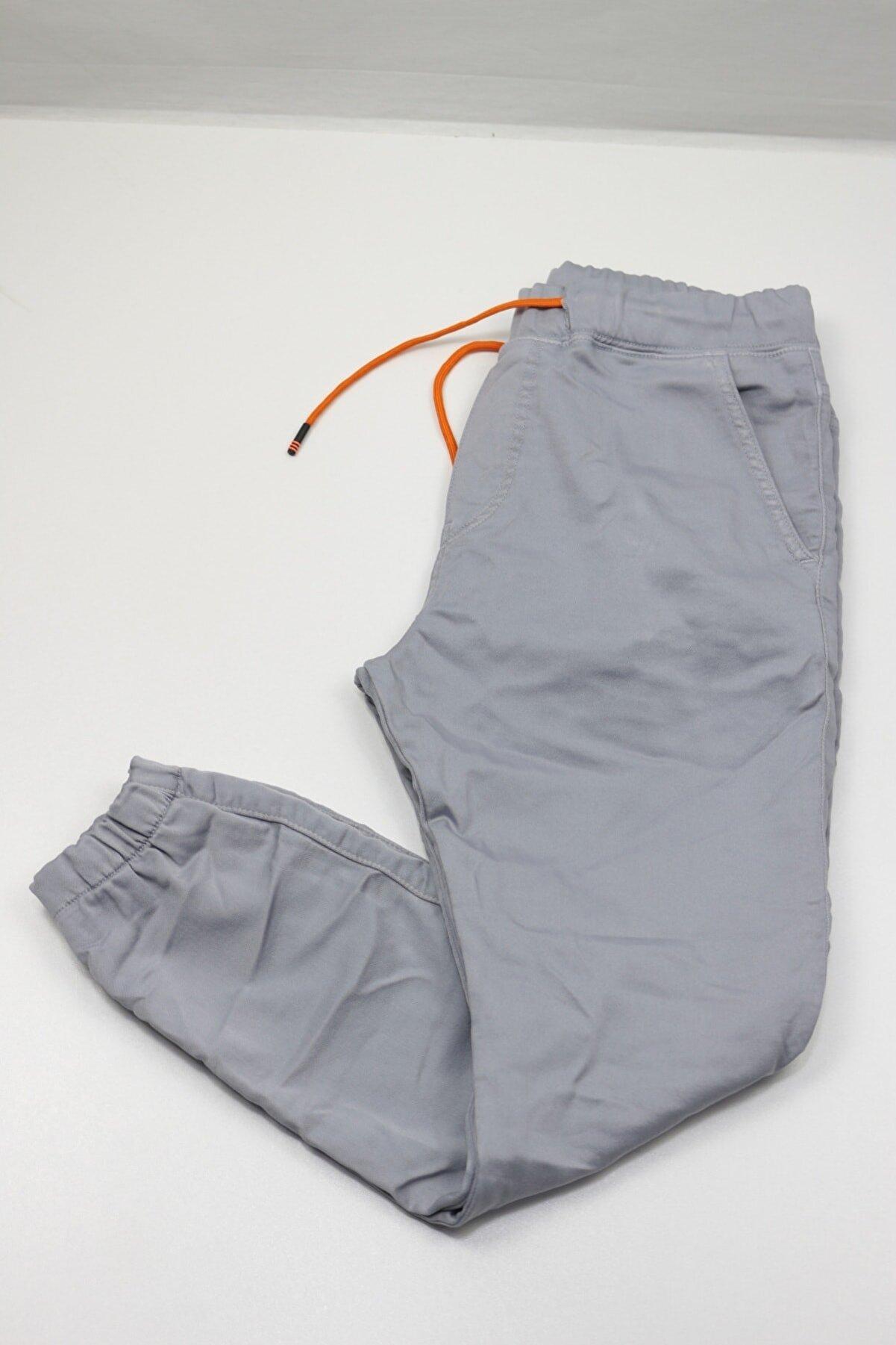 DYG Erkek Gri Beli Ve Paçası Lastikli Jogger Pantolon