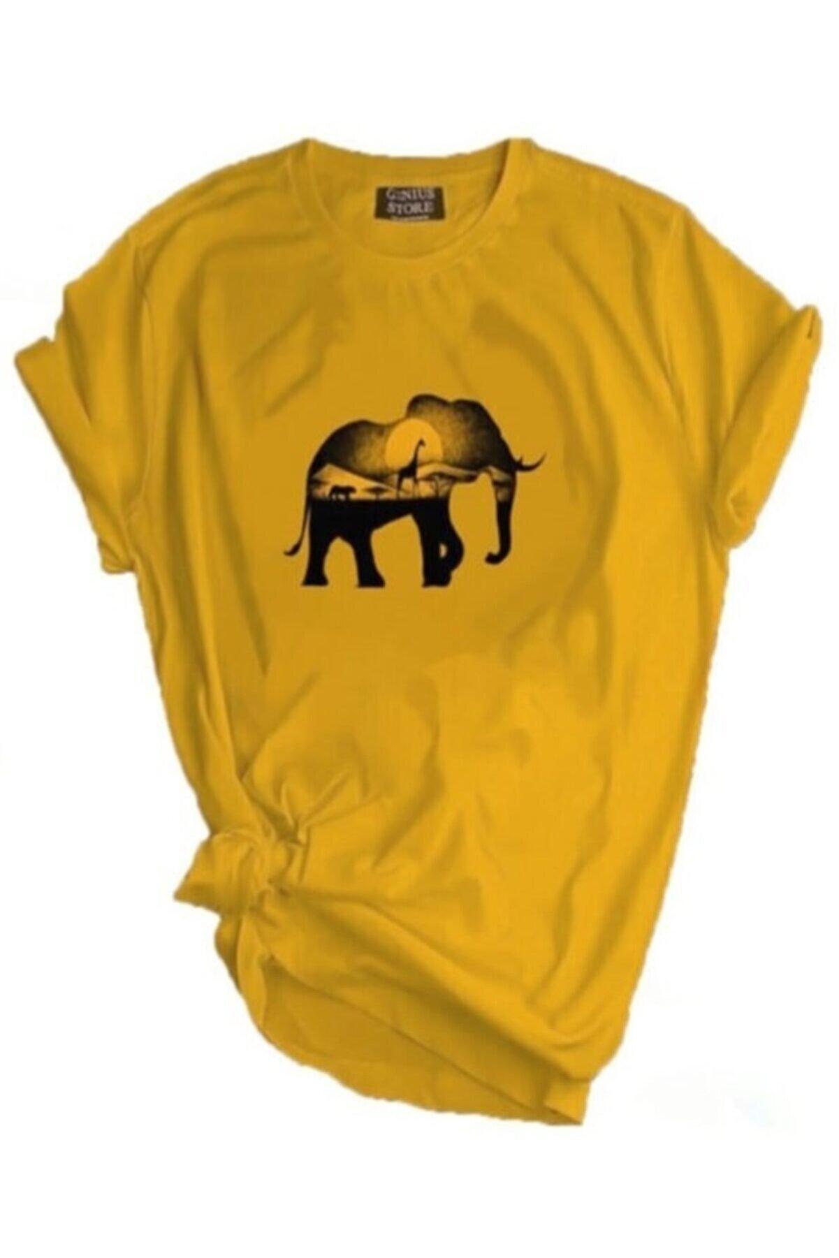 GENIUS Unisex Sarı Store Outdoor Baskılı T-shirt