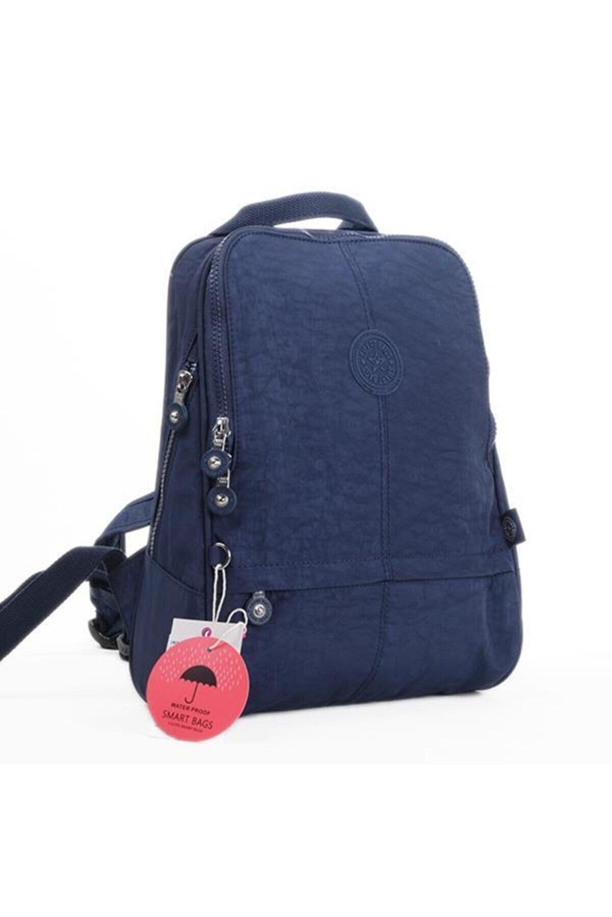 Smart Bags Unisex Lacivert Krinkıl Kumaş Sırt Çantası 33 1117