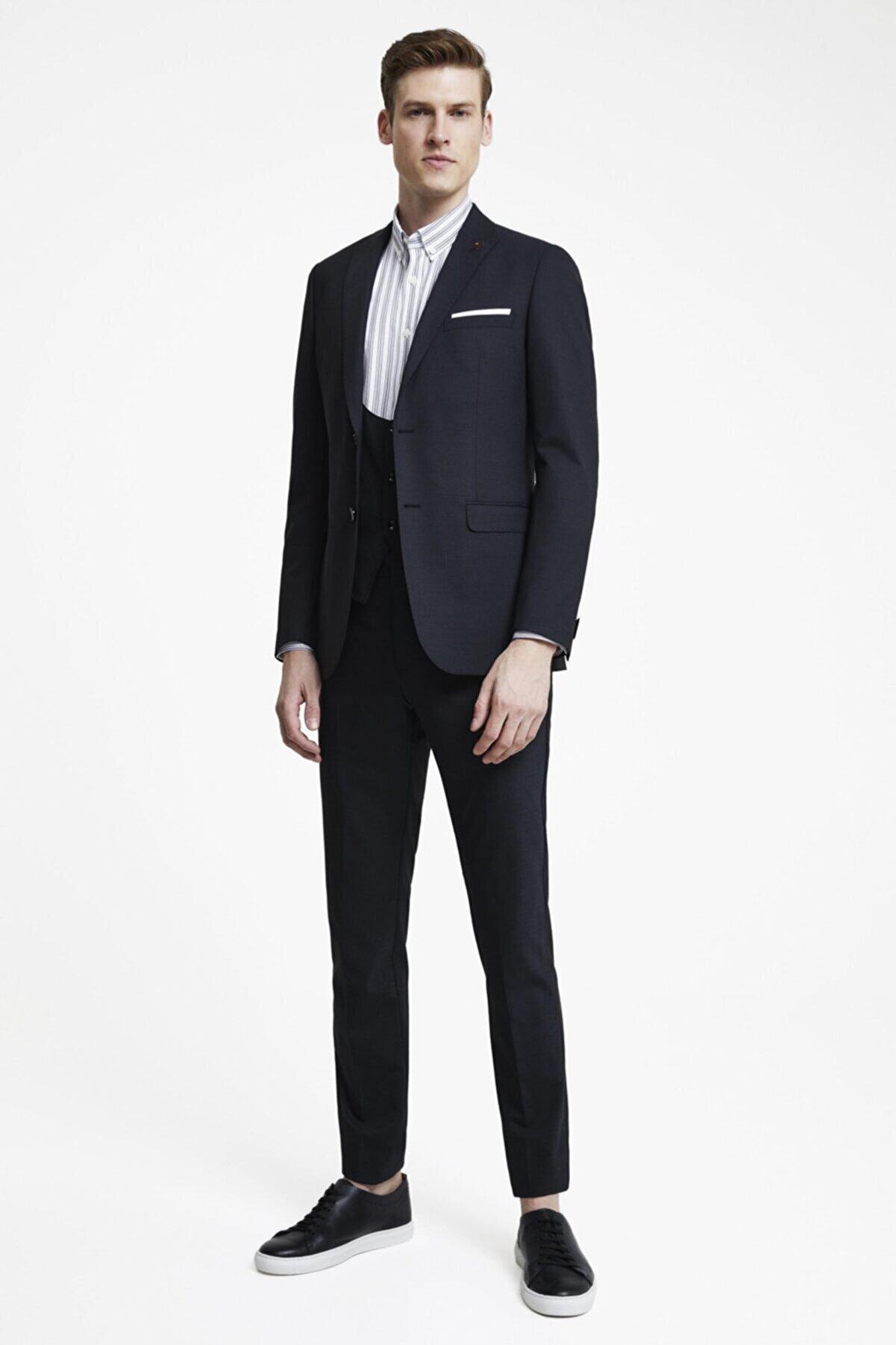 Tween Erkek Siyah  Tween Slim Fit Yelekli Takım Elbise