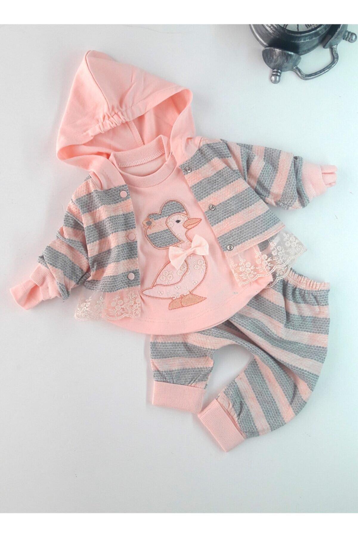 Aydınlar Kız Bebek Pembe Ördek İşlemeli Hırkalı Takım 3lü