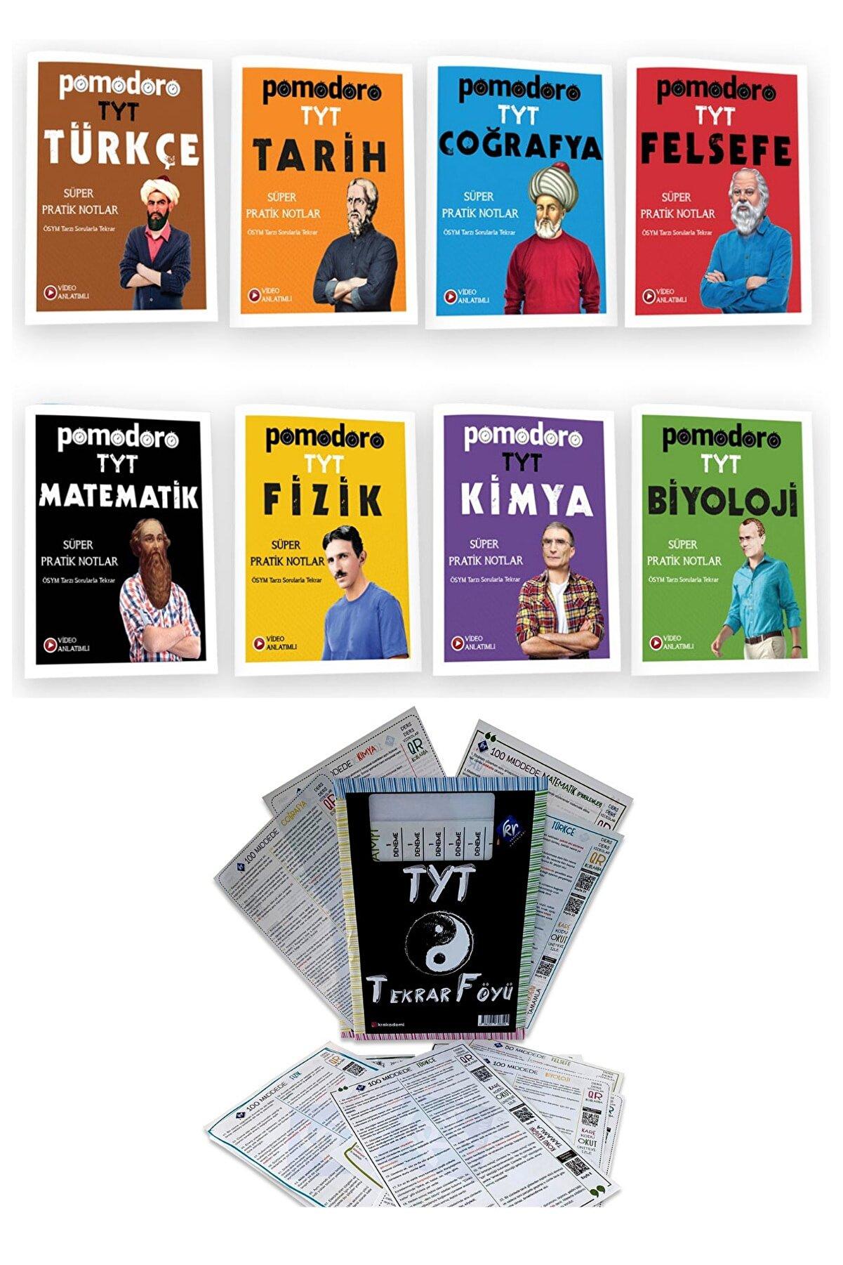 Pomodoro Yayınları 2022 Yks Tyt Konu Anlatımlı Soru Bankası Süper Pratik Notlar Seti Tekrar Föyü Hediyeli 9 Kitap