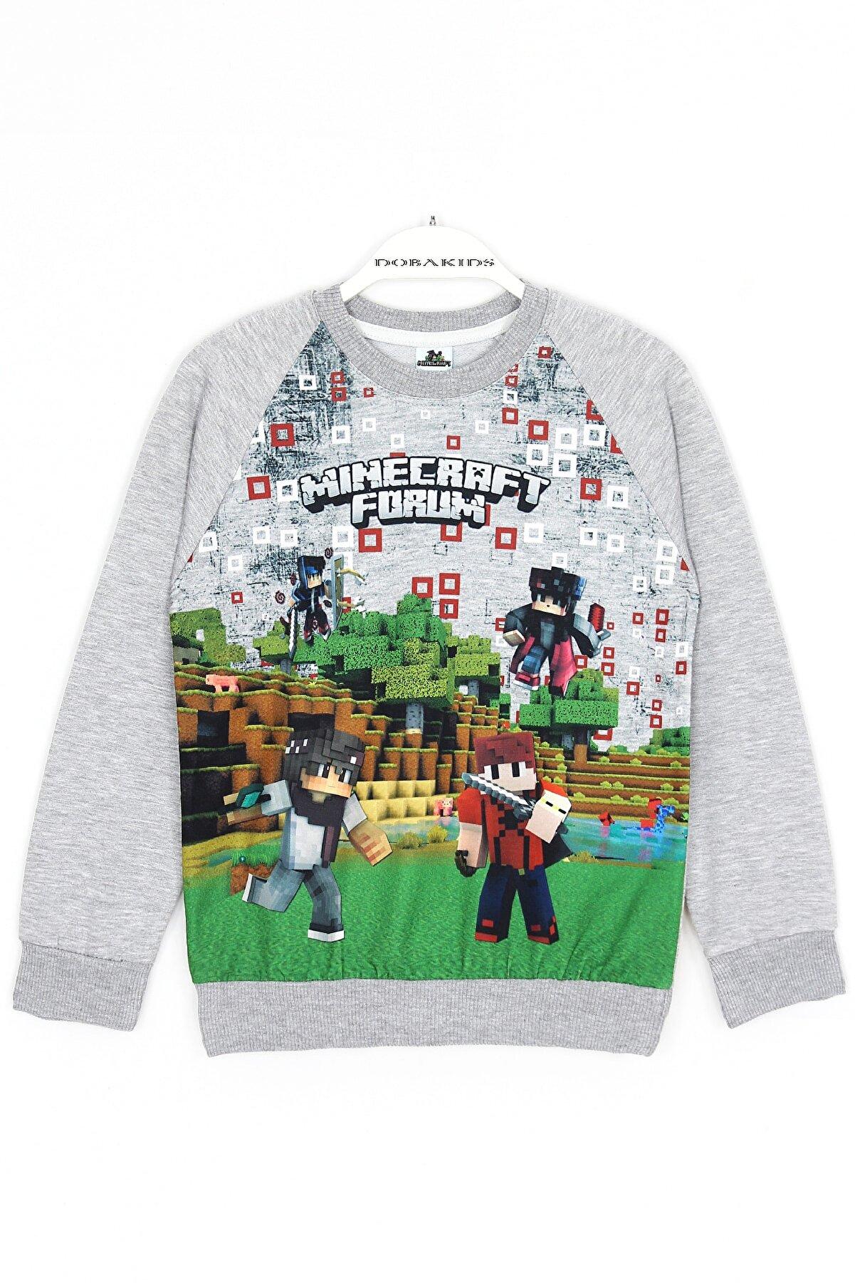 Minecraft Erkek Çocuk Gri Minecraft Baskılı Sweatshirt