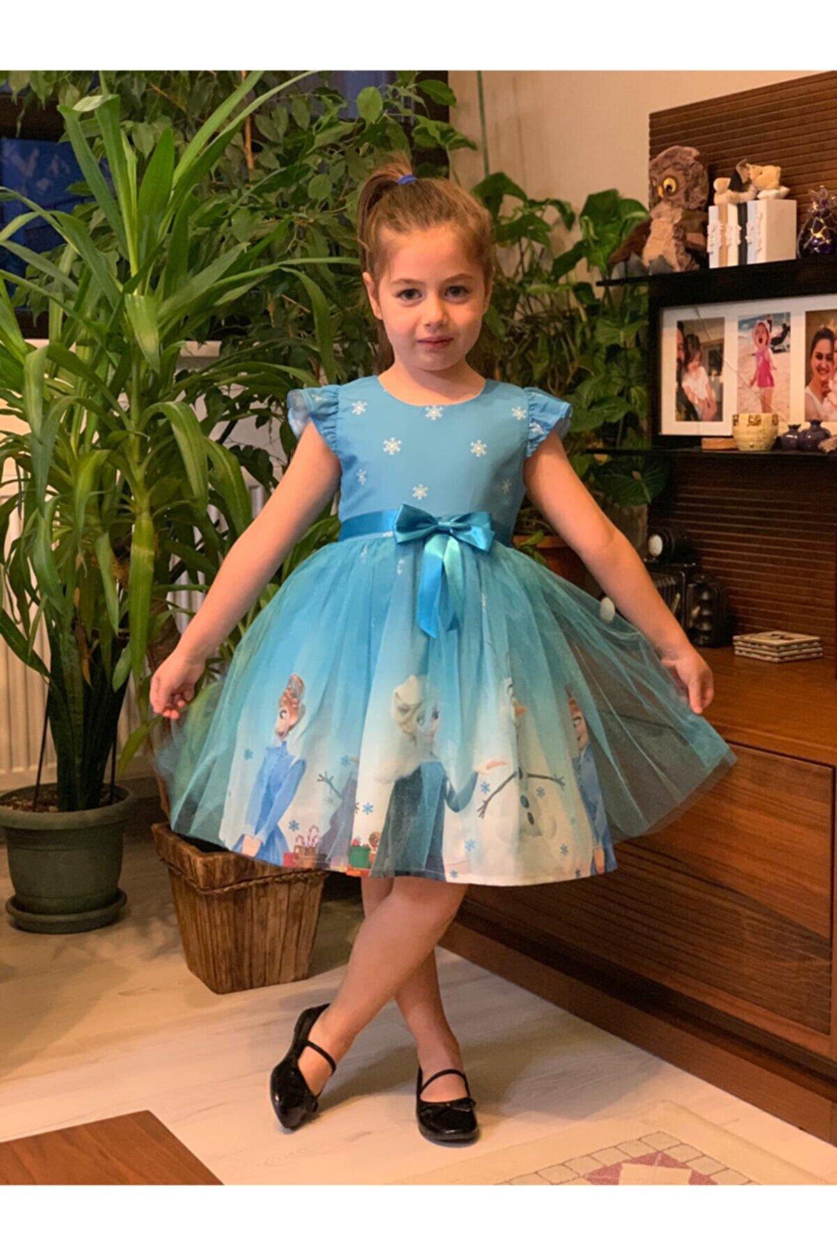 Durumini Kız Çocuk Mavi Karlar Ülkesi Prensesi Elsa Parti Elbisesi