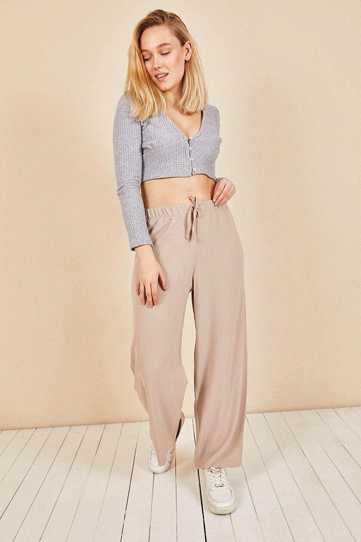 Moda Bu Kadın Krem Beli Lastikli Bol Paça Salaş Yazlık Pantolon