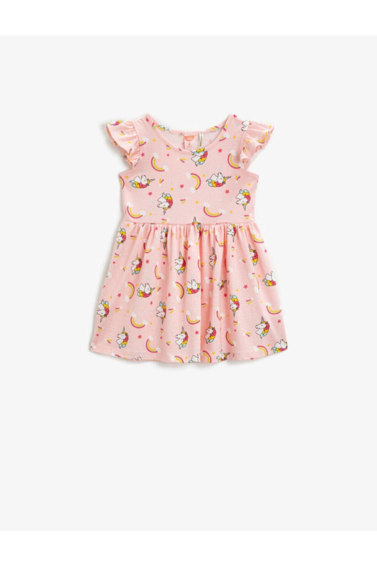 Koton Kız Bebek Elbise Baskili Firfirli