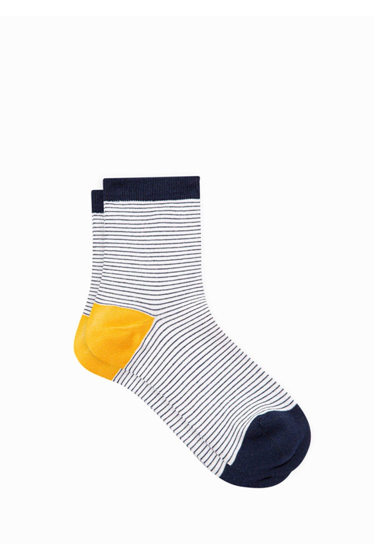 Mavi Çizgili Soket Çorap 196508-33648