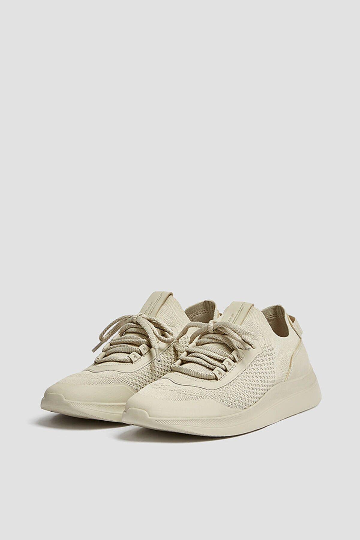 Pull & Bear Kadın Ekru Örgü Kumaş Spor Ayakkabı