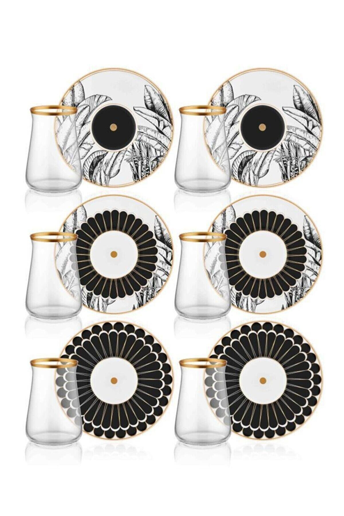The Mia Cote 6 Kişilik Porselen & Cam Çay Bardak Takımı Prs0055