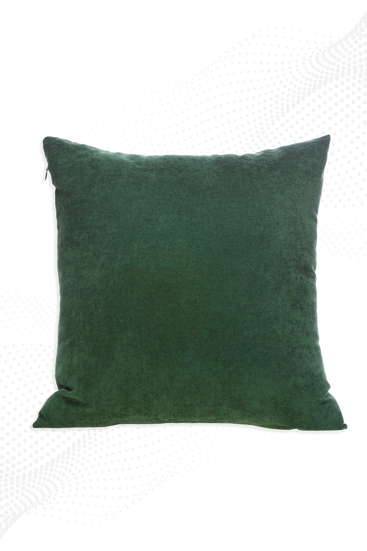 ÖZENEV Yeşil Kırlent Kılıfı Dekoratif Düz Sade Panoroma-588