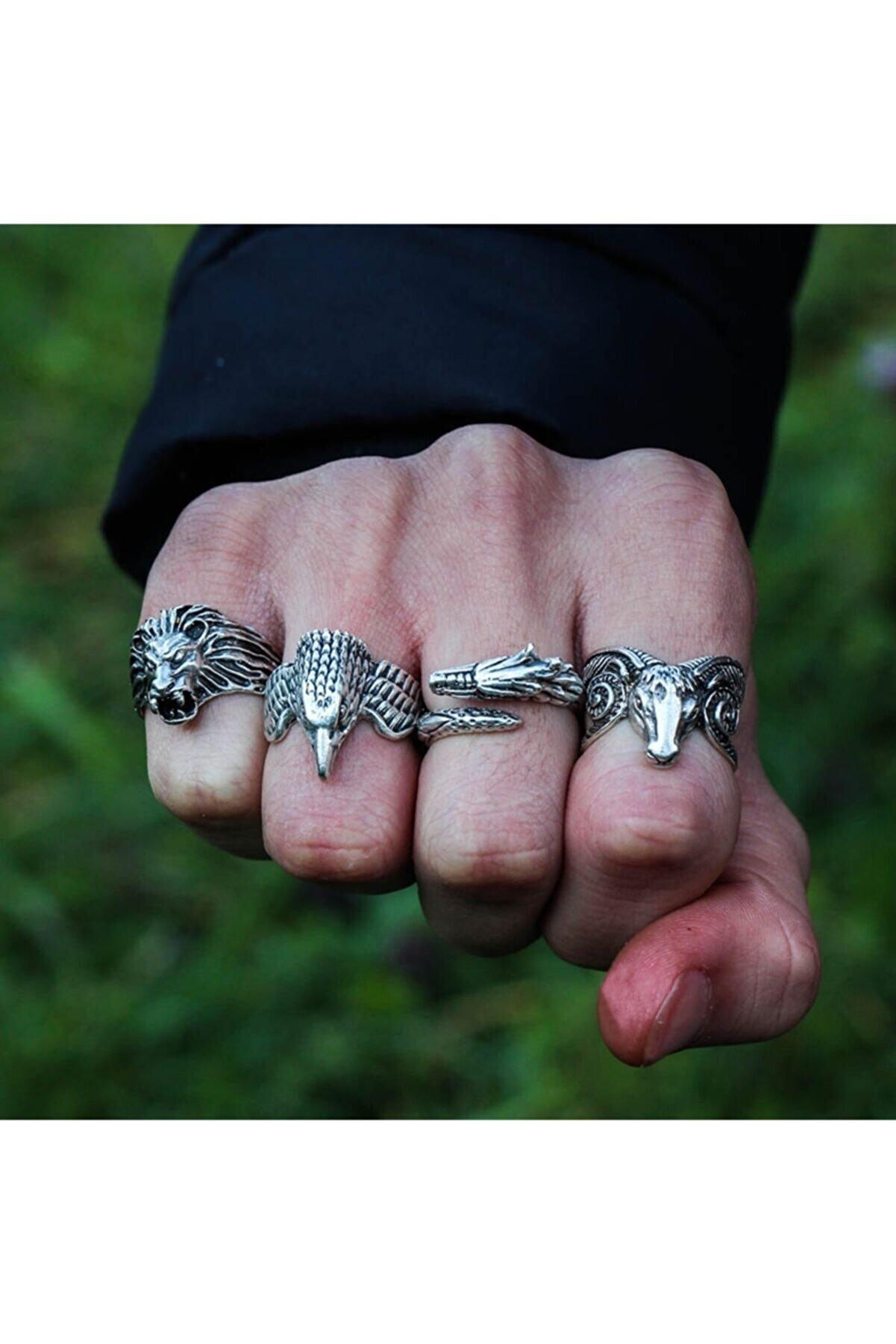 Zuk Collection Gümüş Kaplama Yüzük Ayarlanabilir Model Erkek Yüzük Seti Ahşap Hediye Kutulu