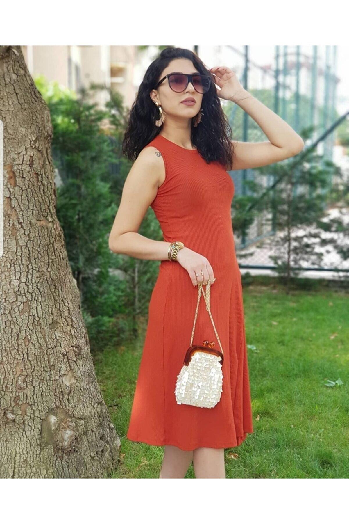 pacco butik Kadın Kiremit Asimetrik Kesim Kolsuz Elbise