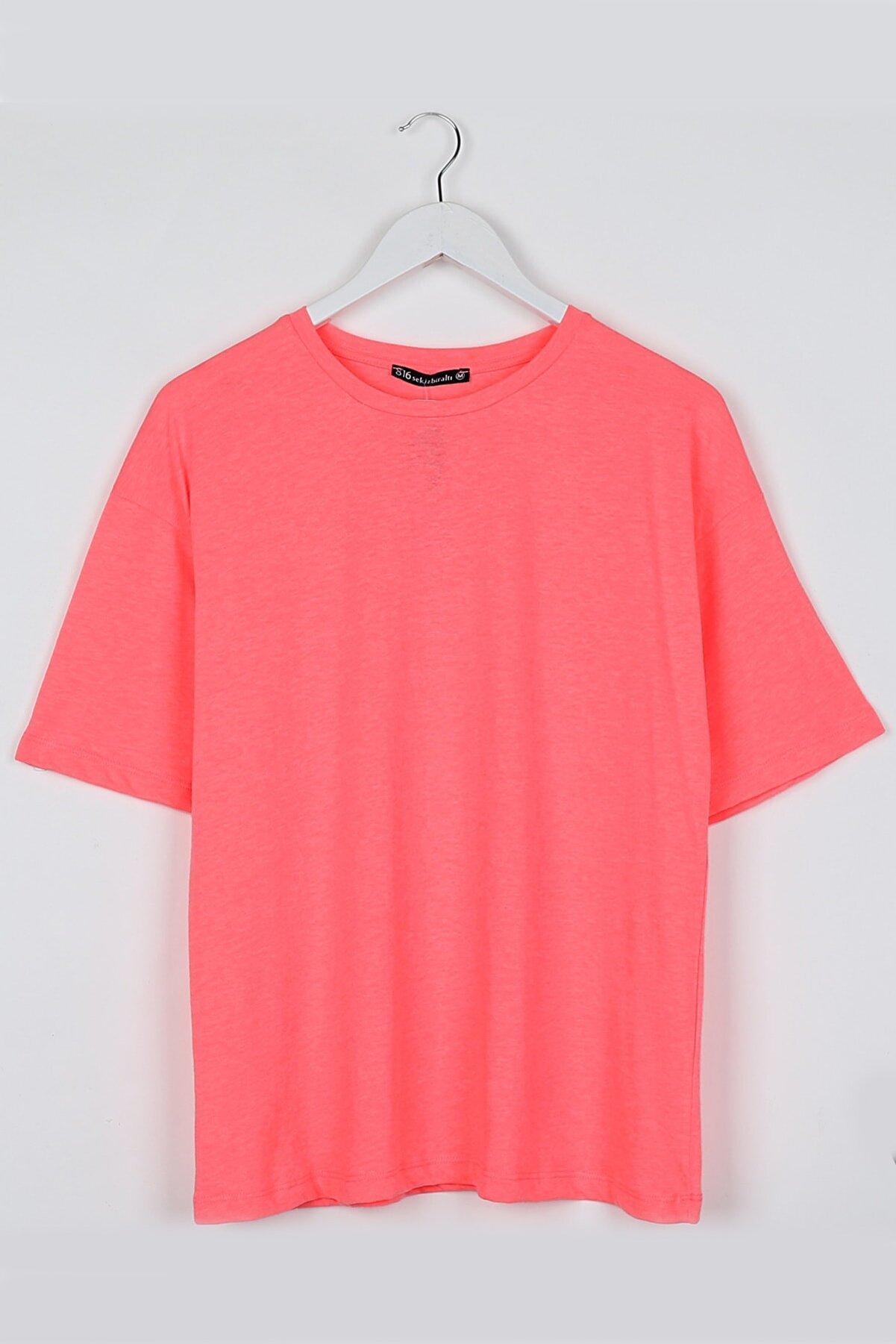 Sekizbiraltı Neon Pembe Kadın Basic Oversize Tshirt