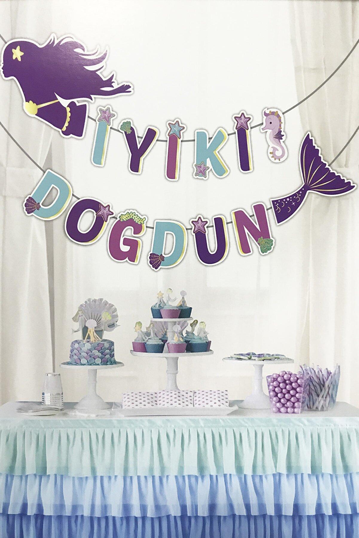 Parti Dolabı Deniz Kızı İyi Ki Doğdun Banner Flama Doğum Günü Parti Seti