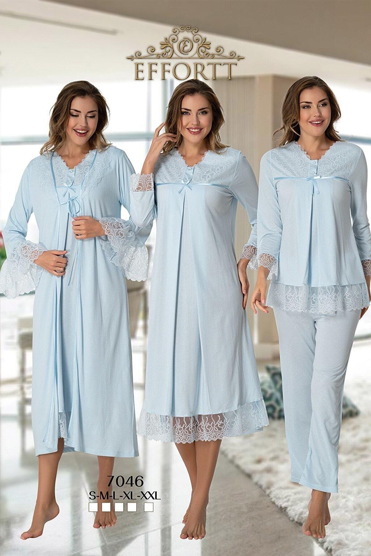 Effort Pijama Effortt 7046 Mavi Güpür Dantelli Lohusa Hamile 4'lü Set