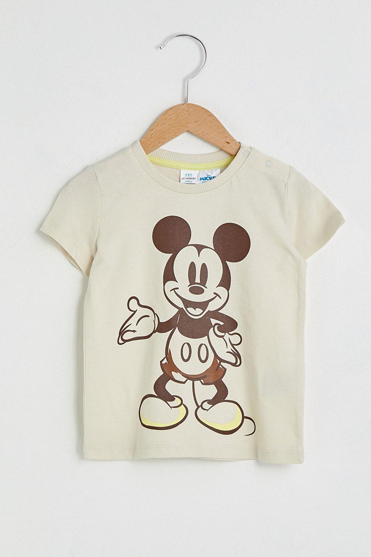 LC Waikiki Mickey Mouse Erkek Bebek Açık Bej Fwm T-Shirt