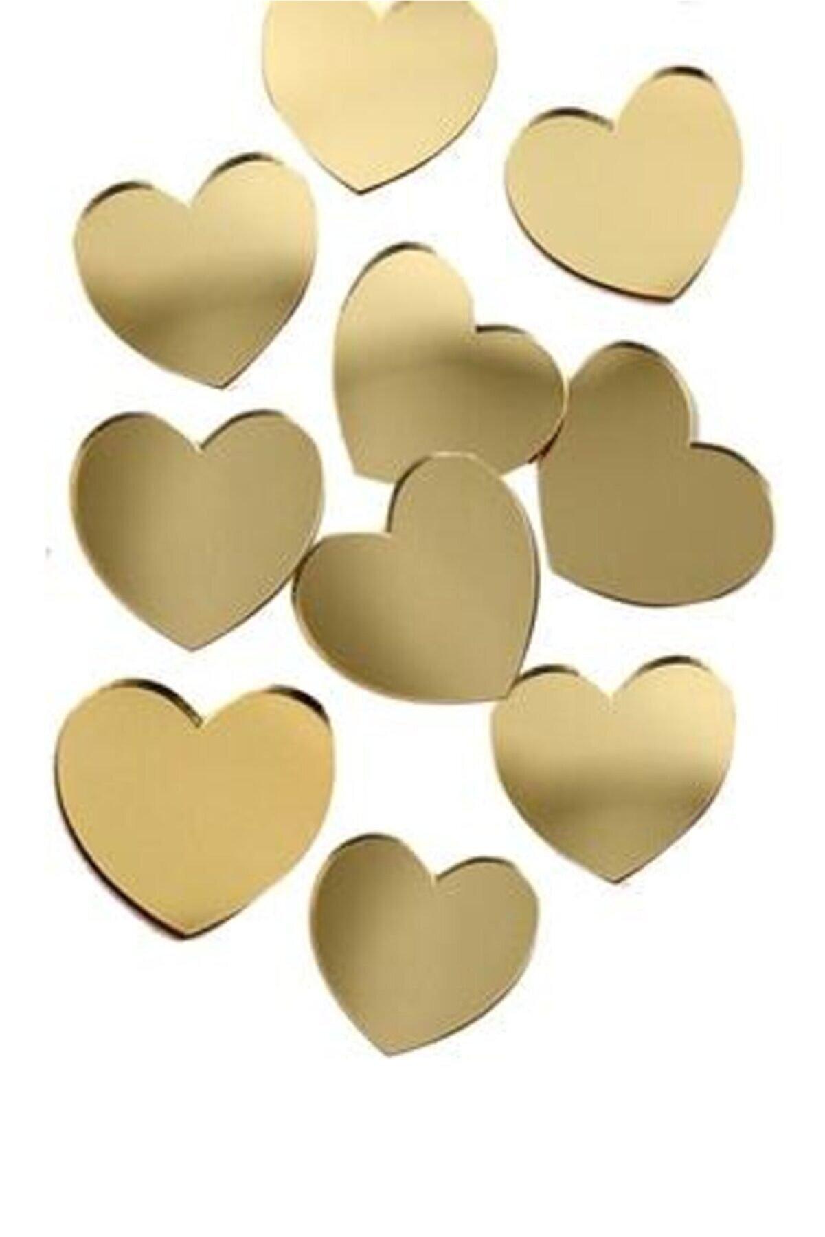 dalgıç tasarım Pleksi Kalp Gold 3 cm 50 Adet
