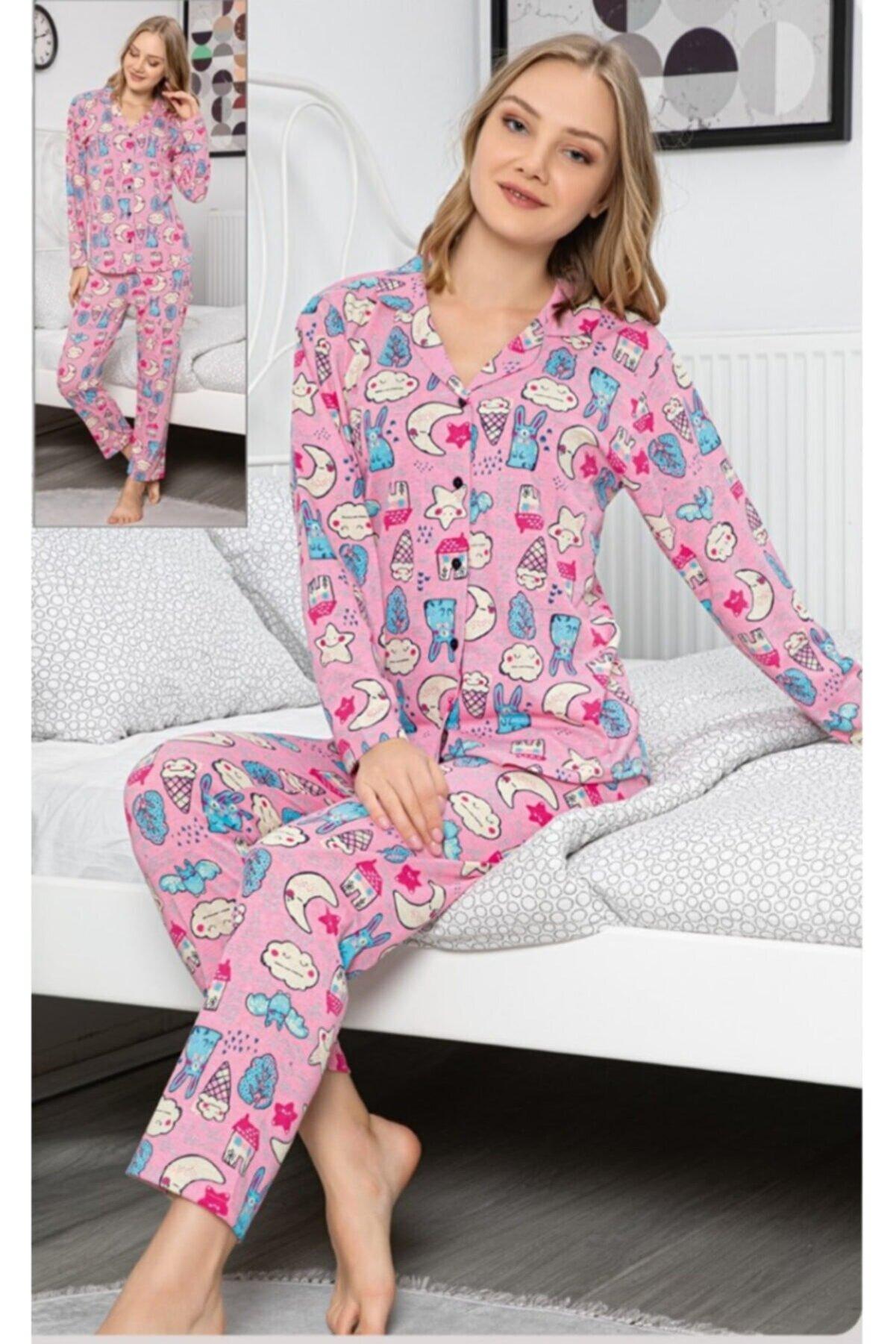 Vera Kadın Pembe Önden Düğmeli Pijama Takımı