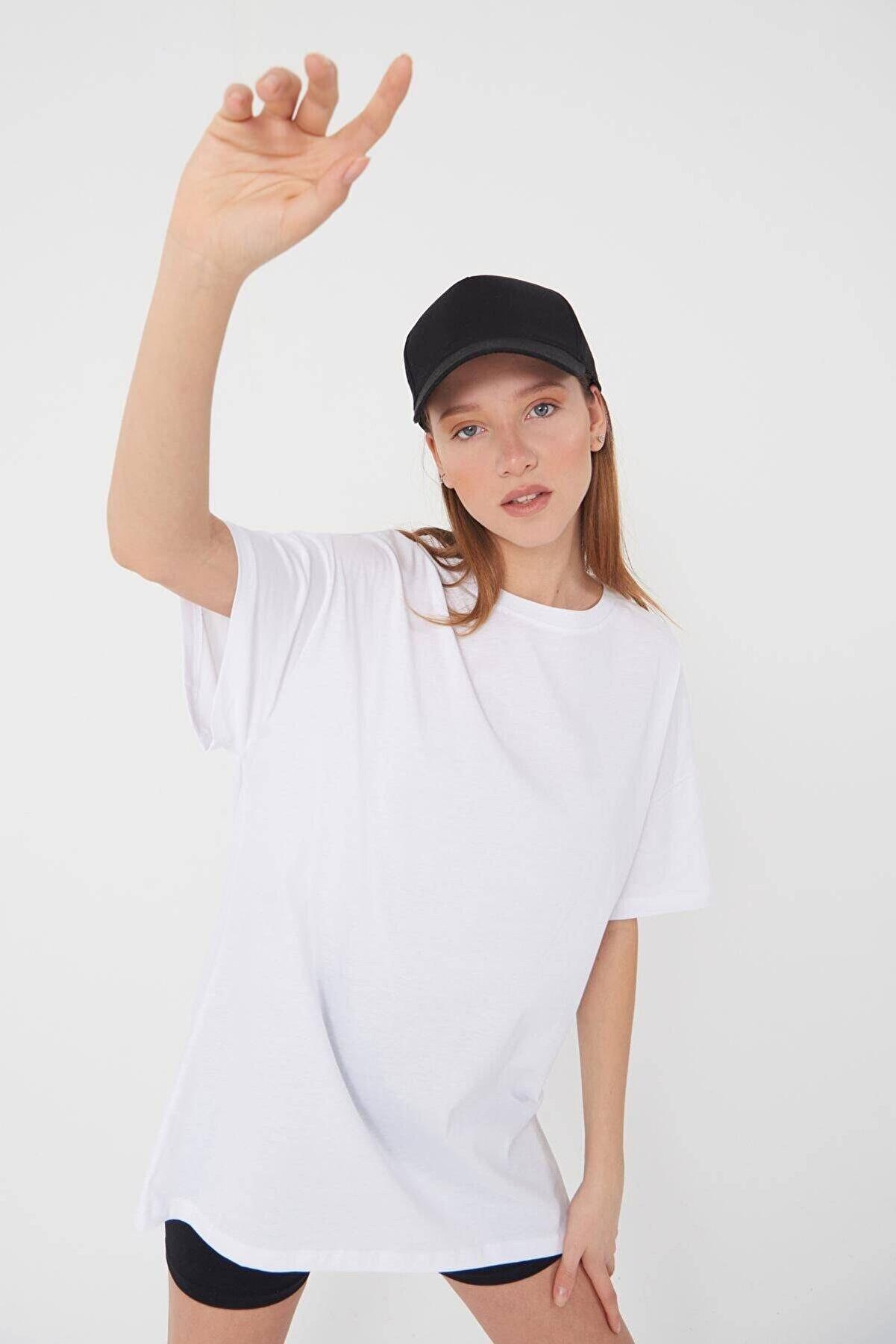 Addax Kadın Beyaz Basic T-Shirt P0337 - T11 Adx-0000021644