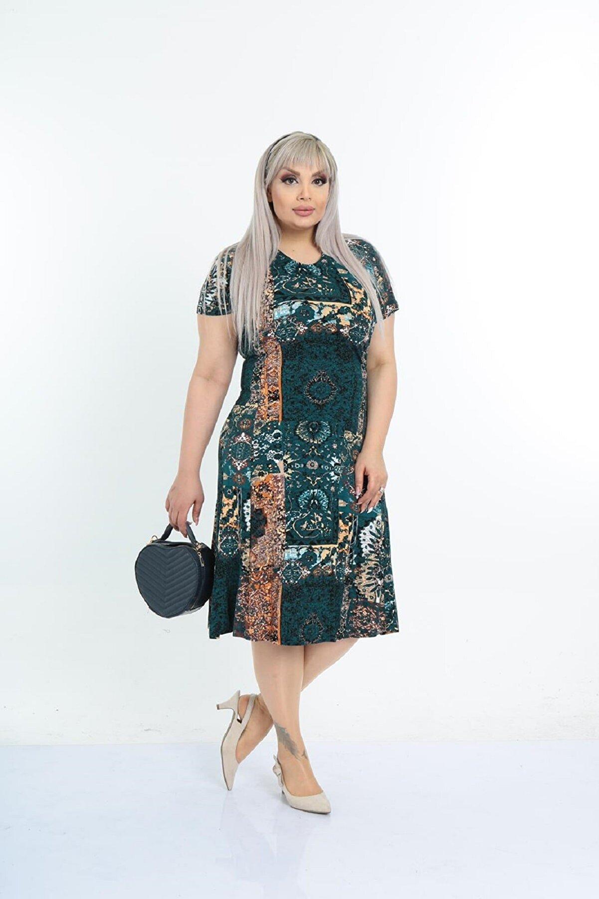 Şirin Butik Kadın Büyük Beden Yeşil Etnik Desenli Günlük Viskon Elbise