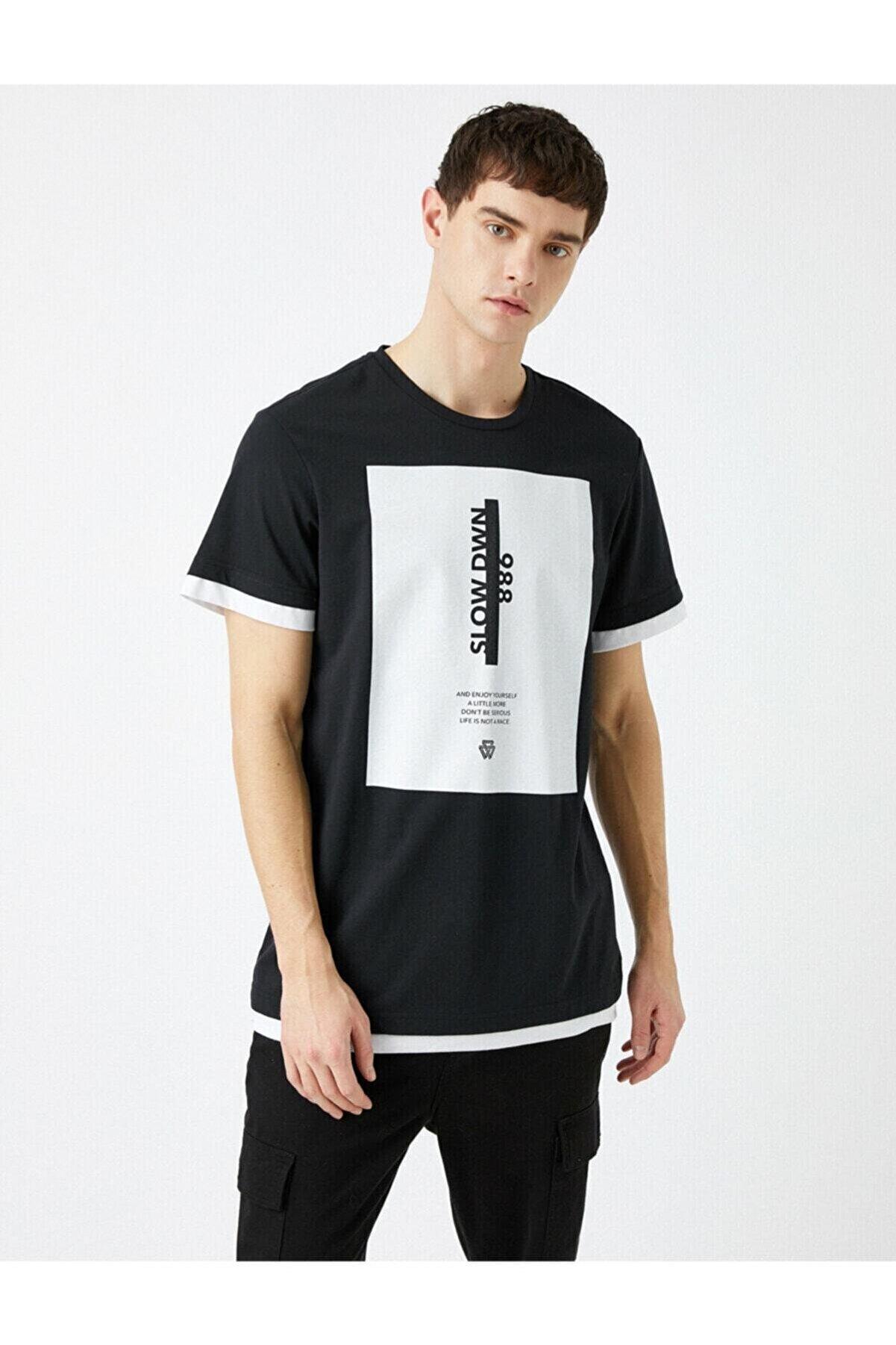 Koton Erkek Siyah Baskılı Kısa Kollu Pamuklu T-Shirt