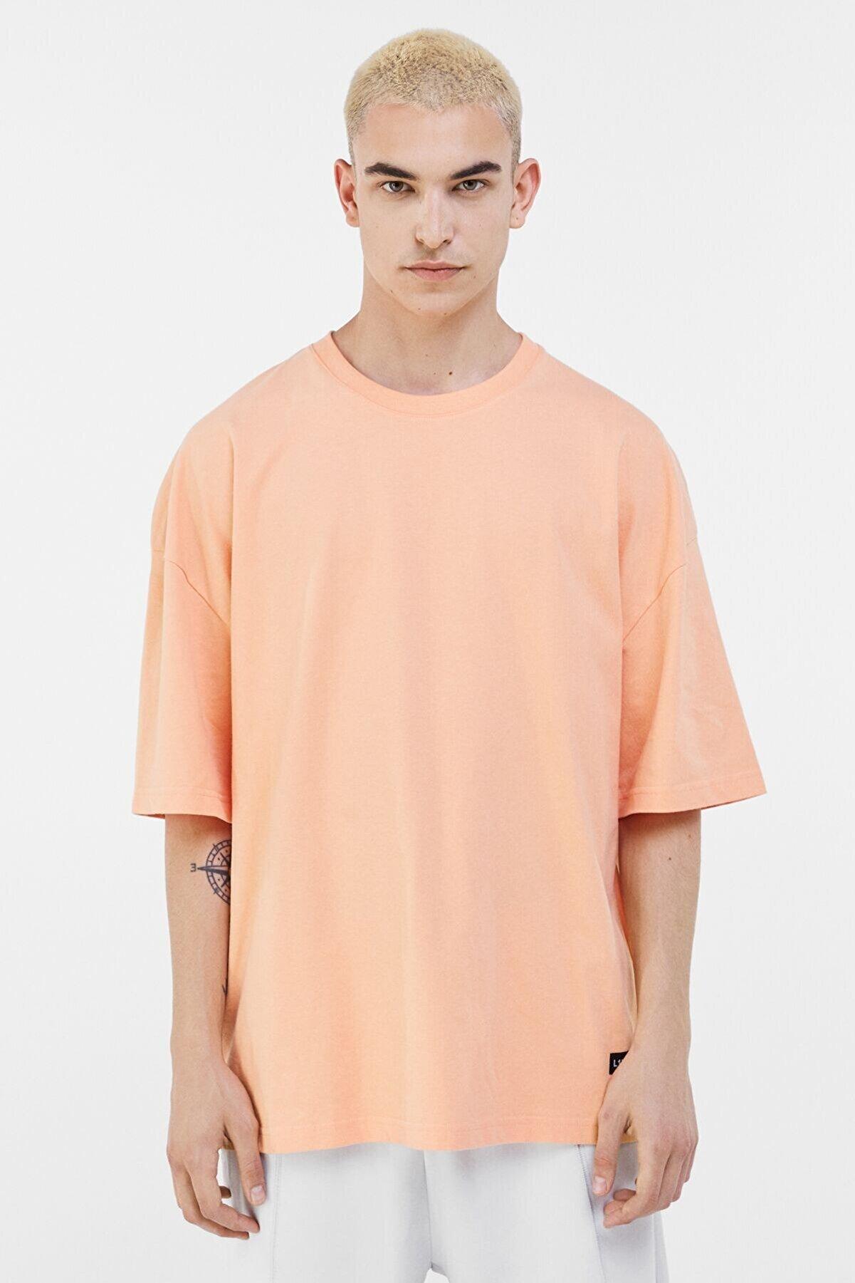 Bershka Erkek Turuncu Ekstra Loose Fit T-shirt