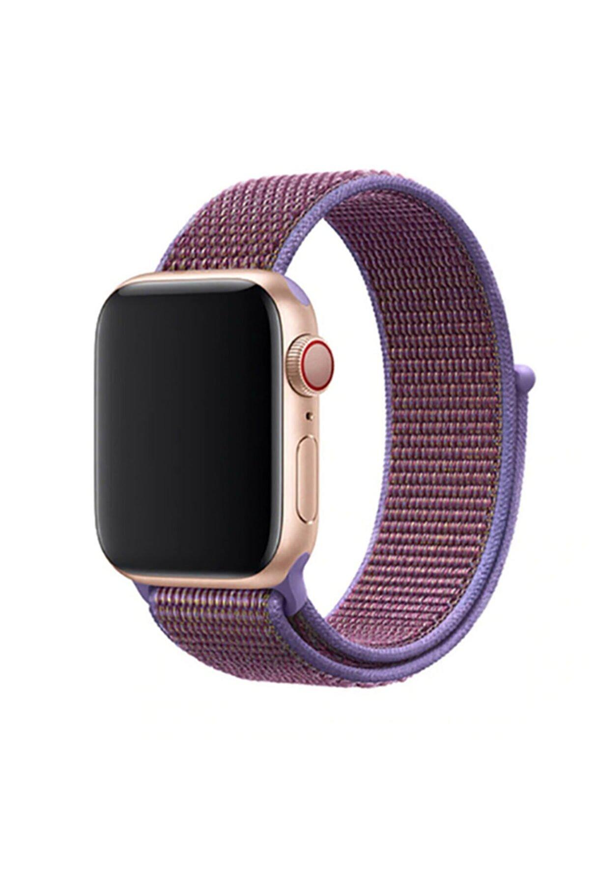 Zore Apple Watch 1 2 3 4 5 Serisi Uyumlu   42mm Kordon Spor Loop Hasır Cırt Cırtlı Kayış