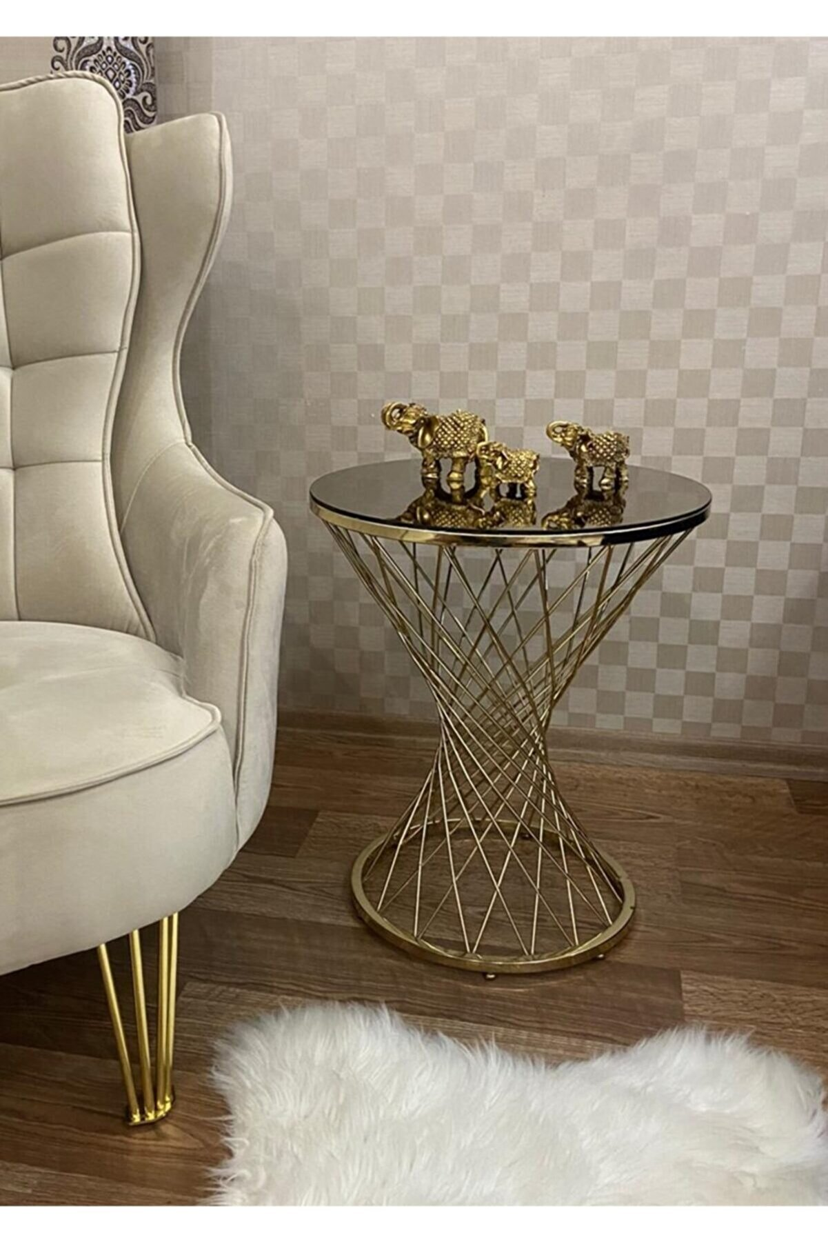 Ressa Home Leyza Hasır Gold Metal Sehpa-Servis  Sehpası Zigon